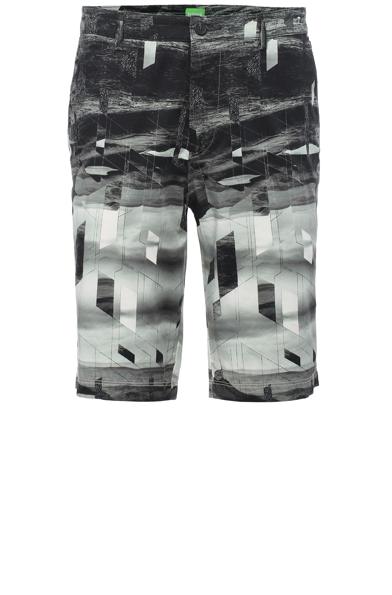 'Liem Print W' | Slim Fit, Stretch Cotton Shorts