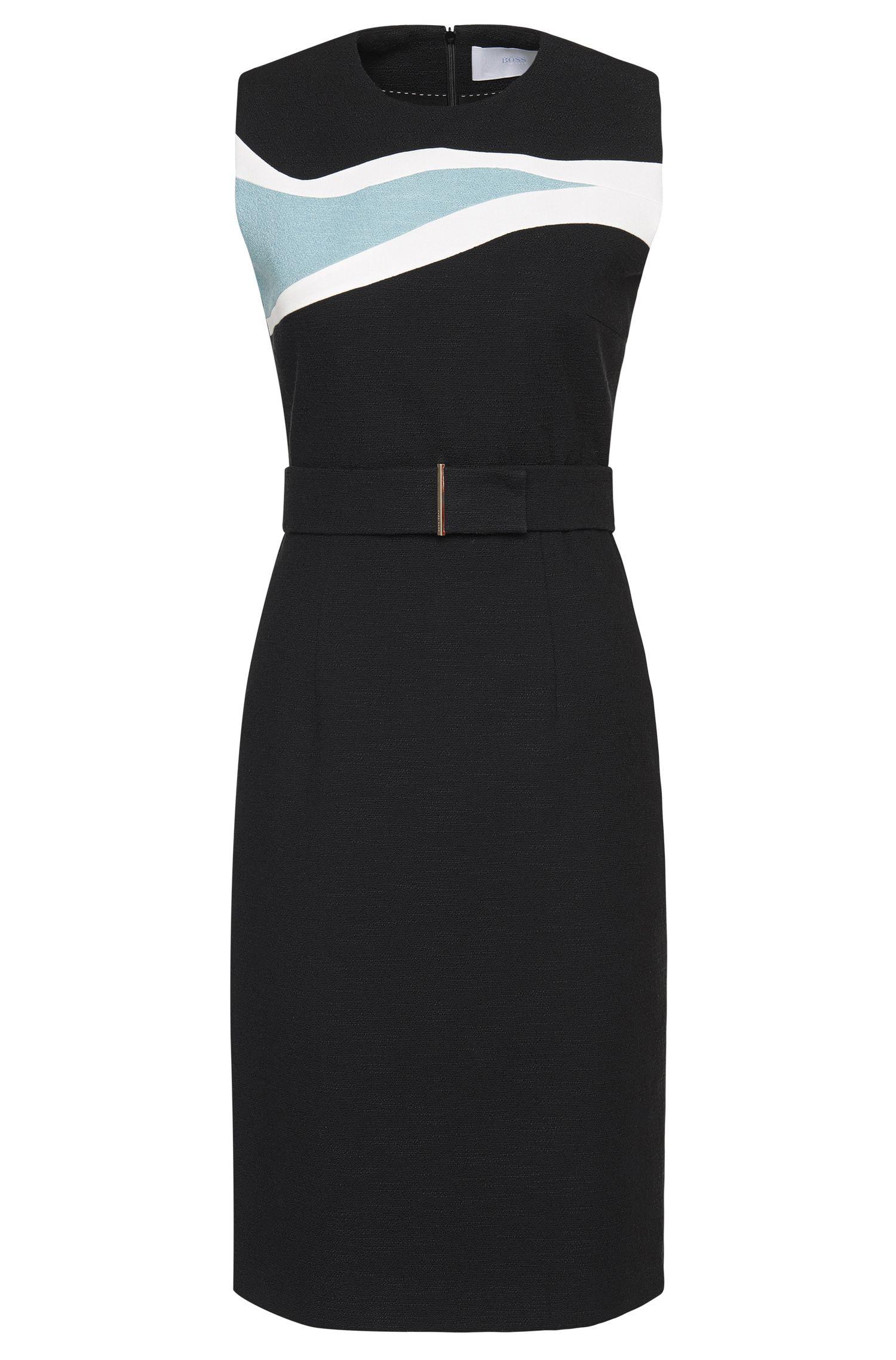 'Didina' | Stretch Cotton Intarsia Sheath Dress