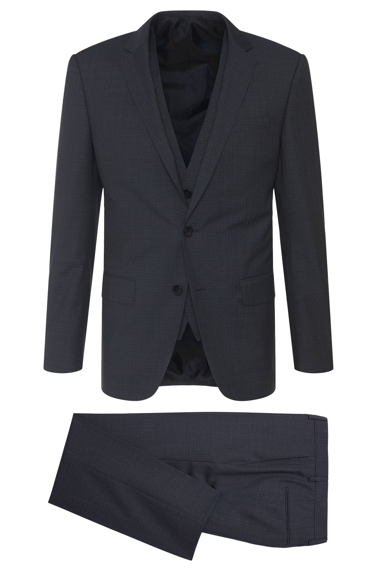 'Hevans/Gill WE' | Slim Fit, Super 120 Virgin Wool 3-Piece Suit