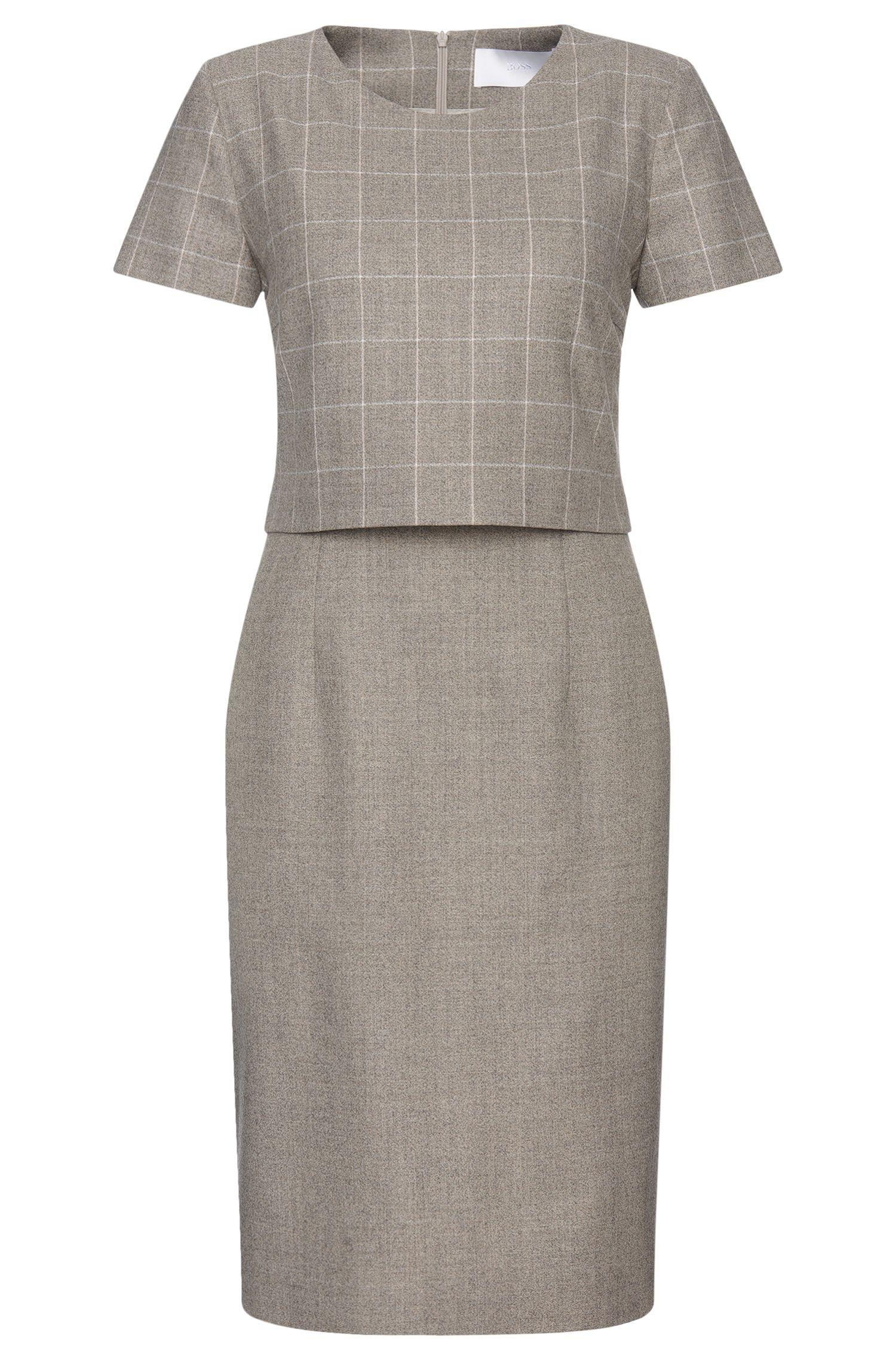 'Decara' | Stretch Virgin Wool Layered Shift Dress