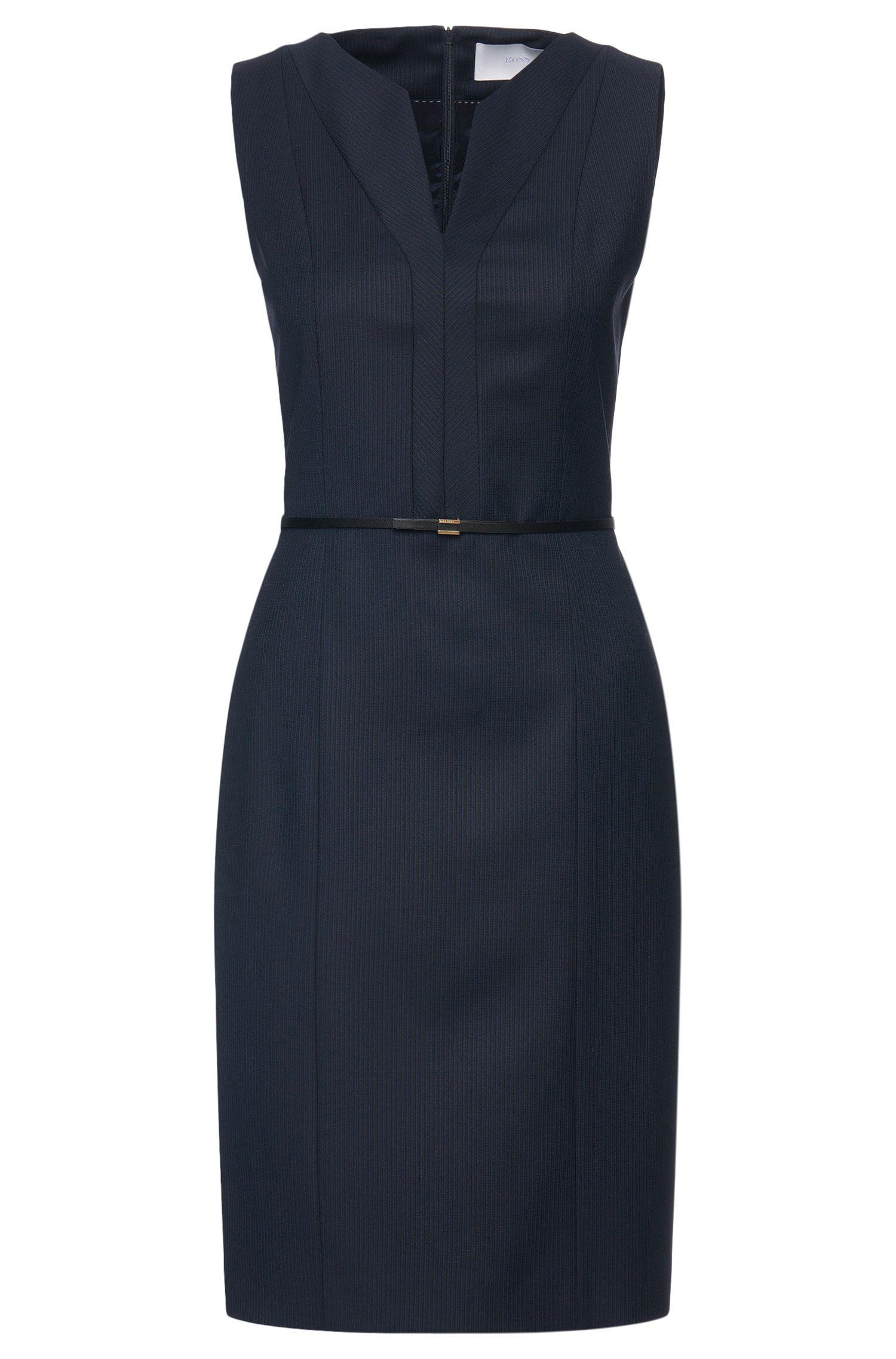 'Dalanda' | Virgin Wool Belted Ribbed Sheath Dress