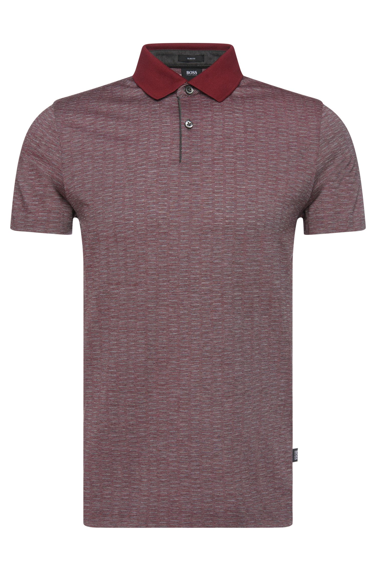 'Parks' | Slim Fit, Wool Cotton Finestripe Polo Shirt