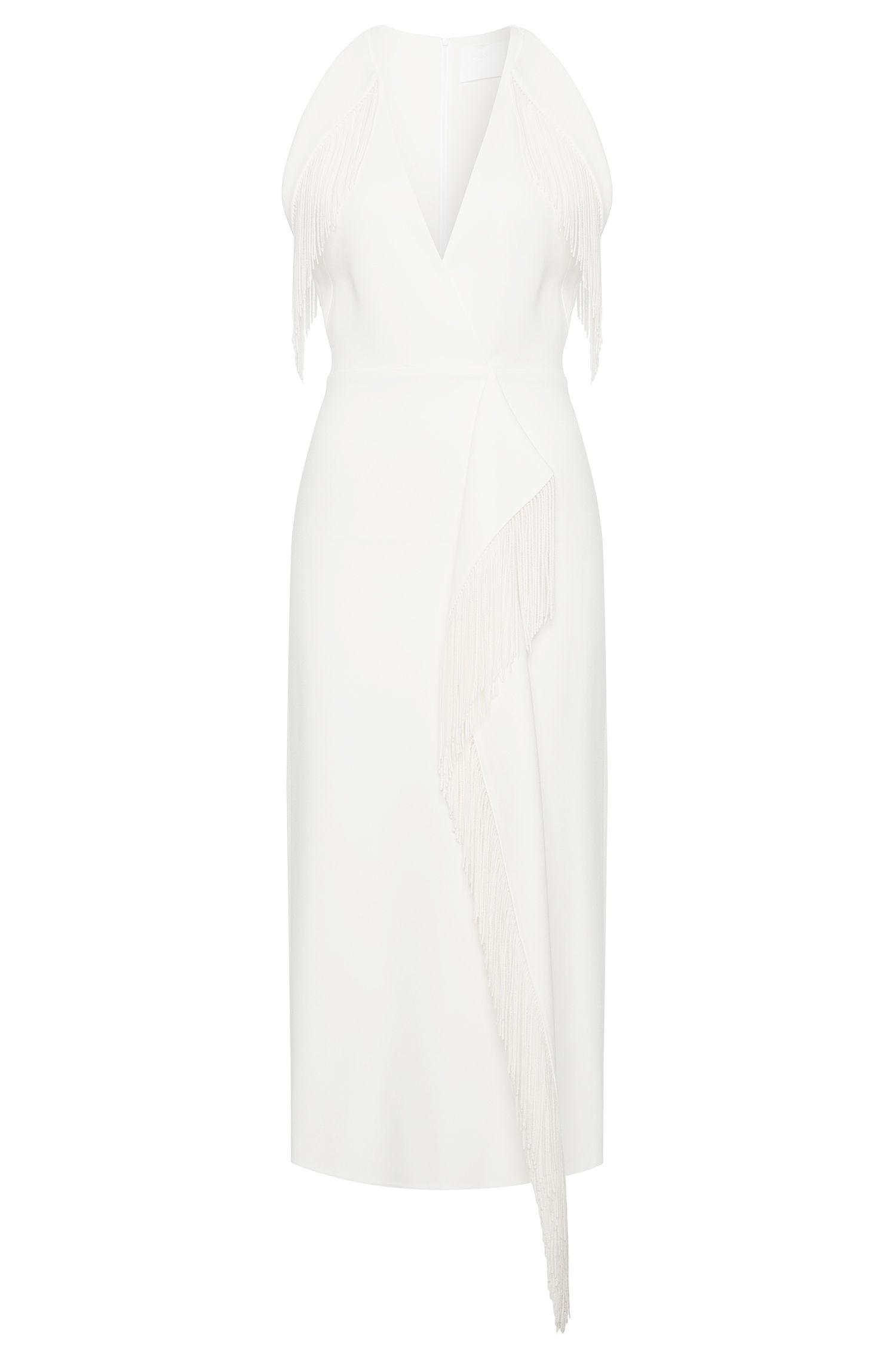 'FS_Dibita'   Italian Bonded Crepe Fringe Dress