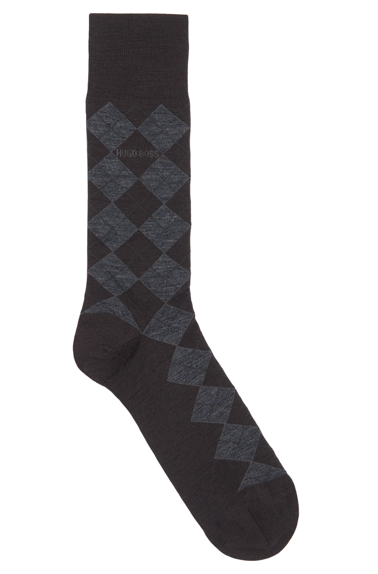 'John Design US' | Stretch Wool Cotton Blend Argyle Socks