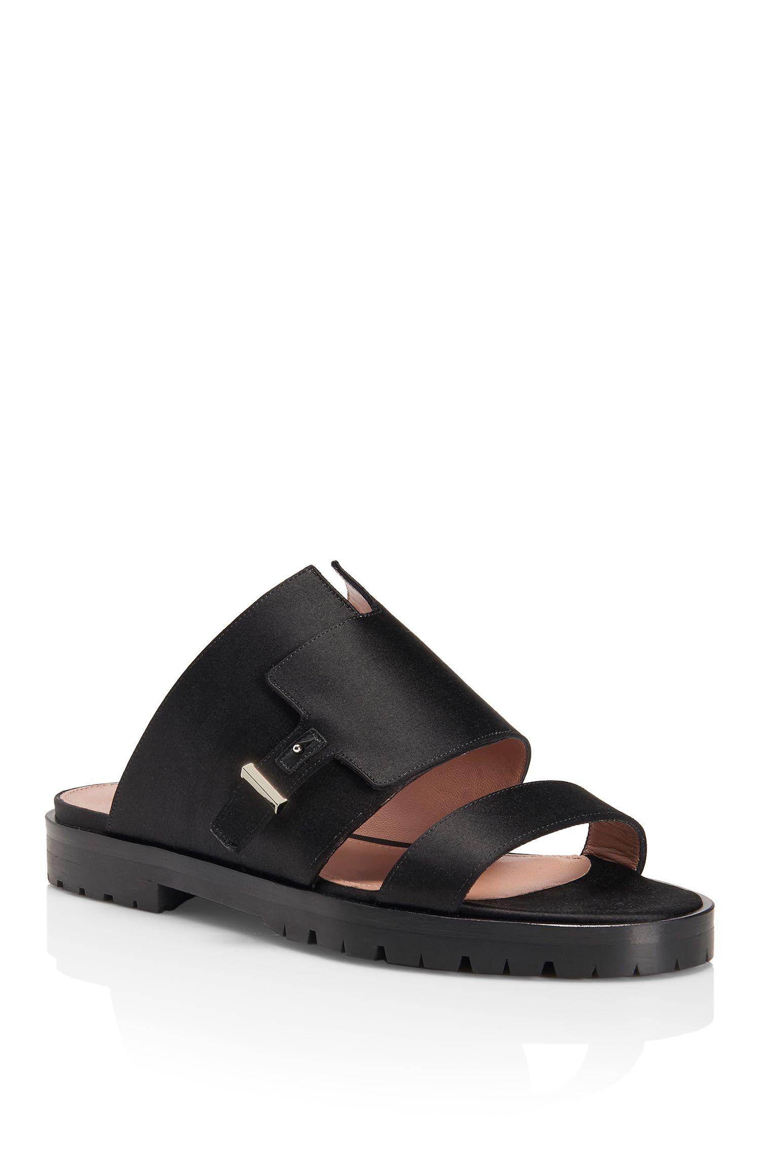 'Sandal Pin Flat' | Silk Blend Satin Sandals