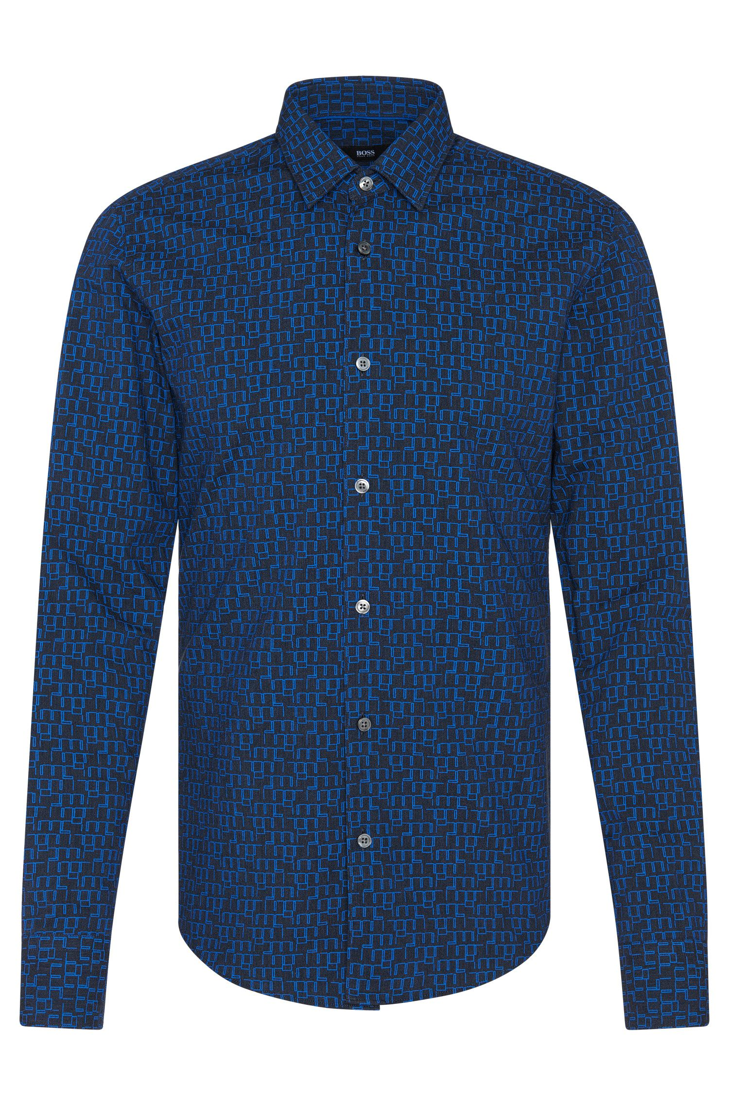 'Reid' | Slim Fit, Egyptian Cotton Patterned Button Down Shirt
