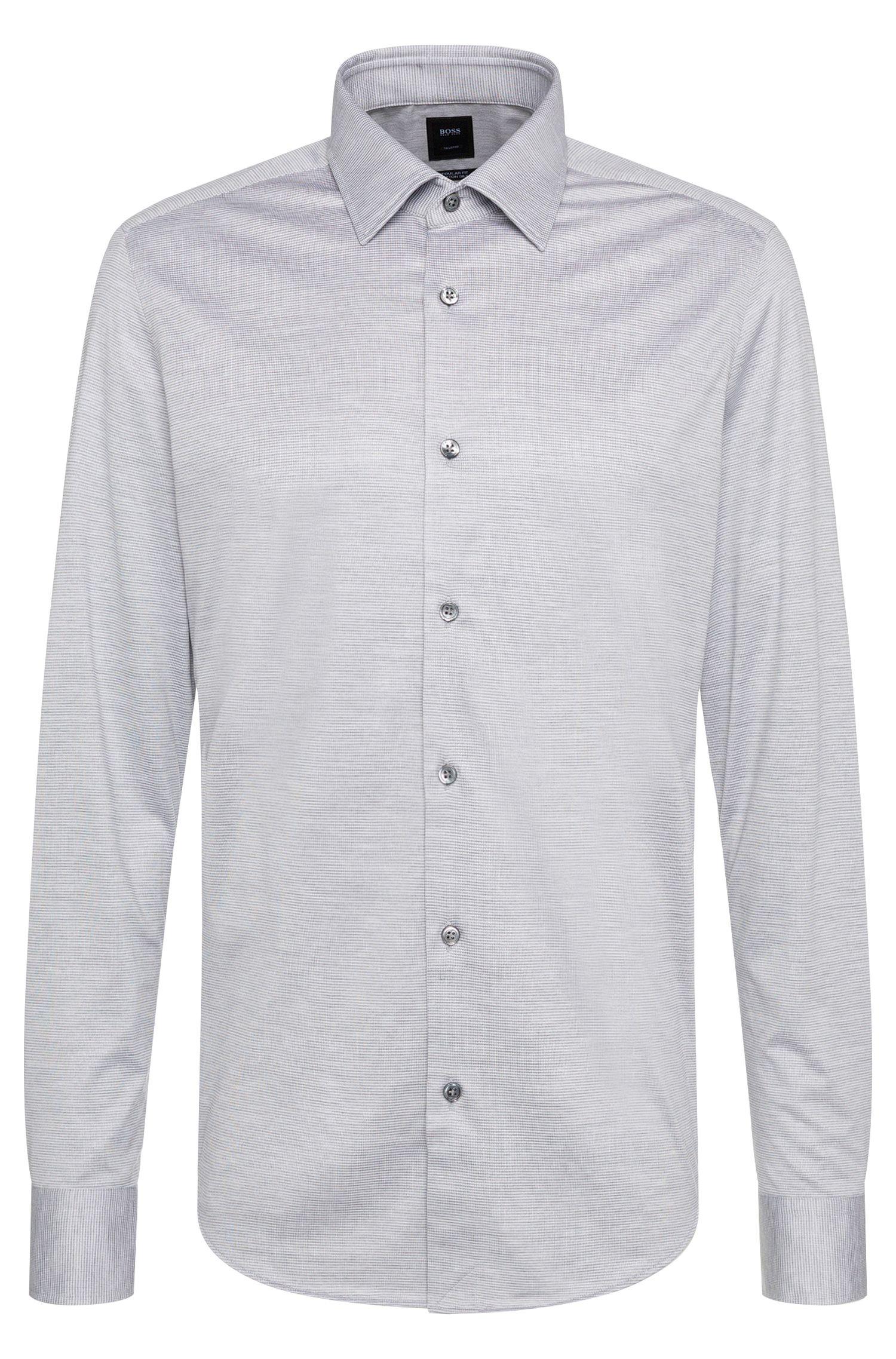 'T-Landon'   Regular Fit, Italian Silk Cotton Jersey Button Down Shirt