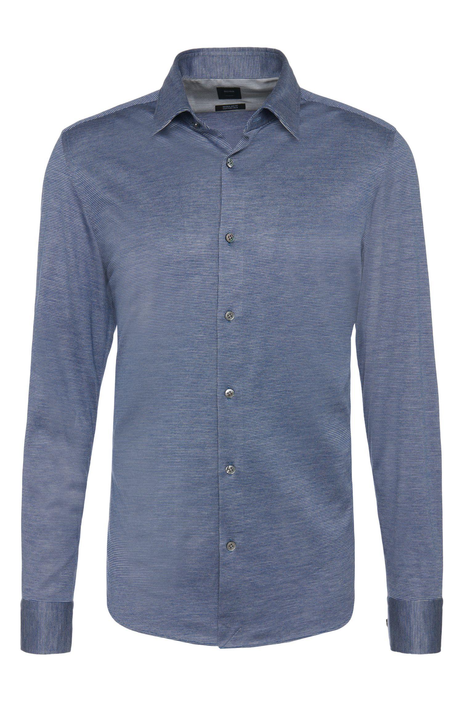 'T-Landon' | Regular Fit, Italian Silk Cotton Jersey Button Down Shirt