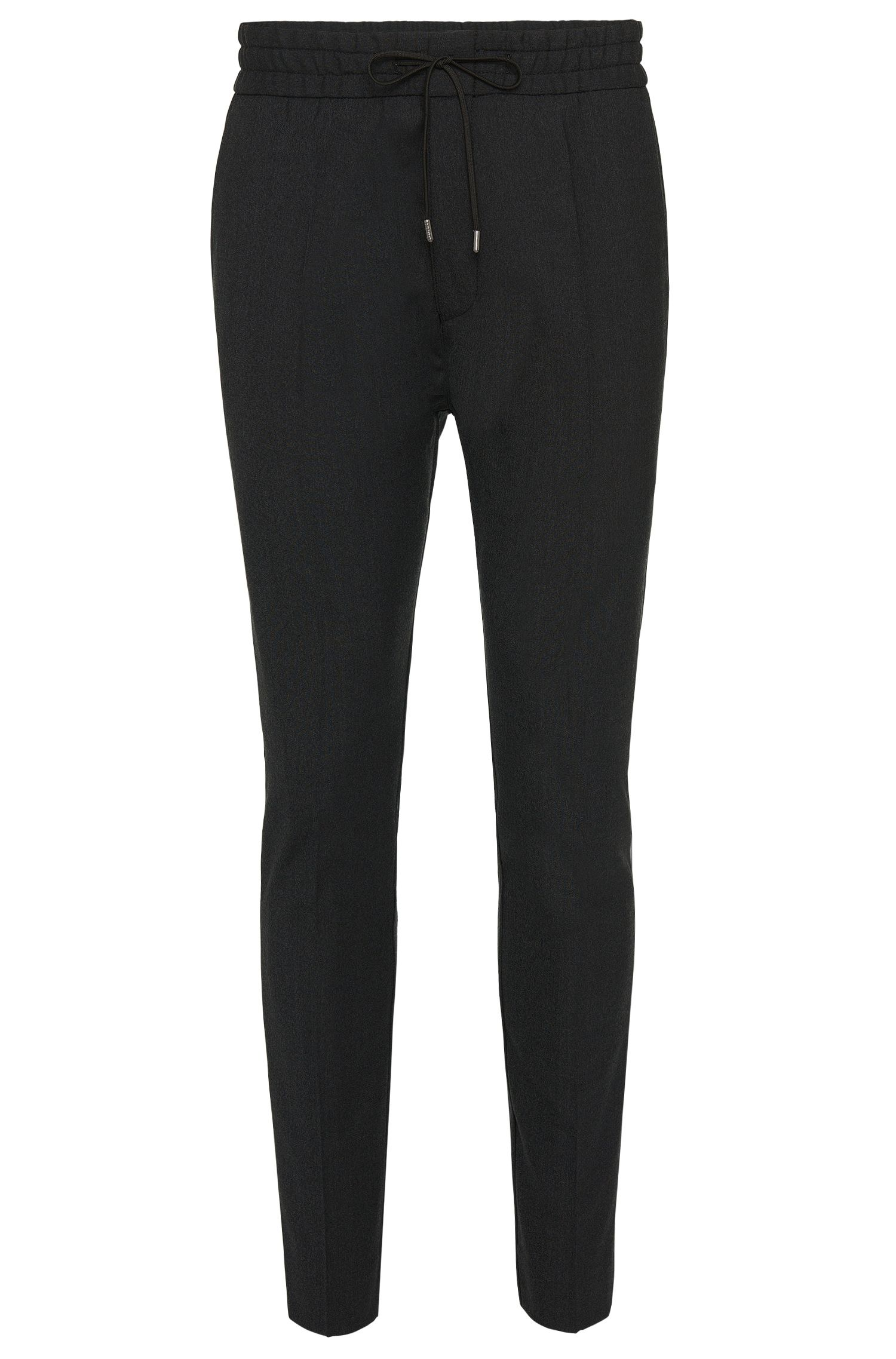 'Himesh' | Tapered Fit, Stretch Virgin Wool Blend Drawstring Trousers