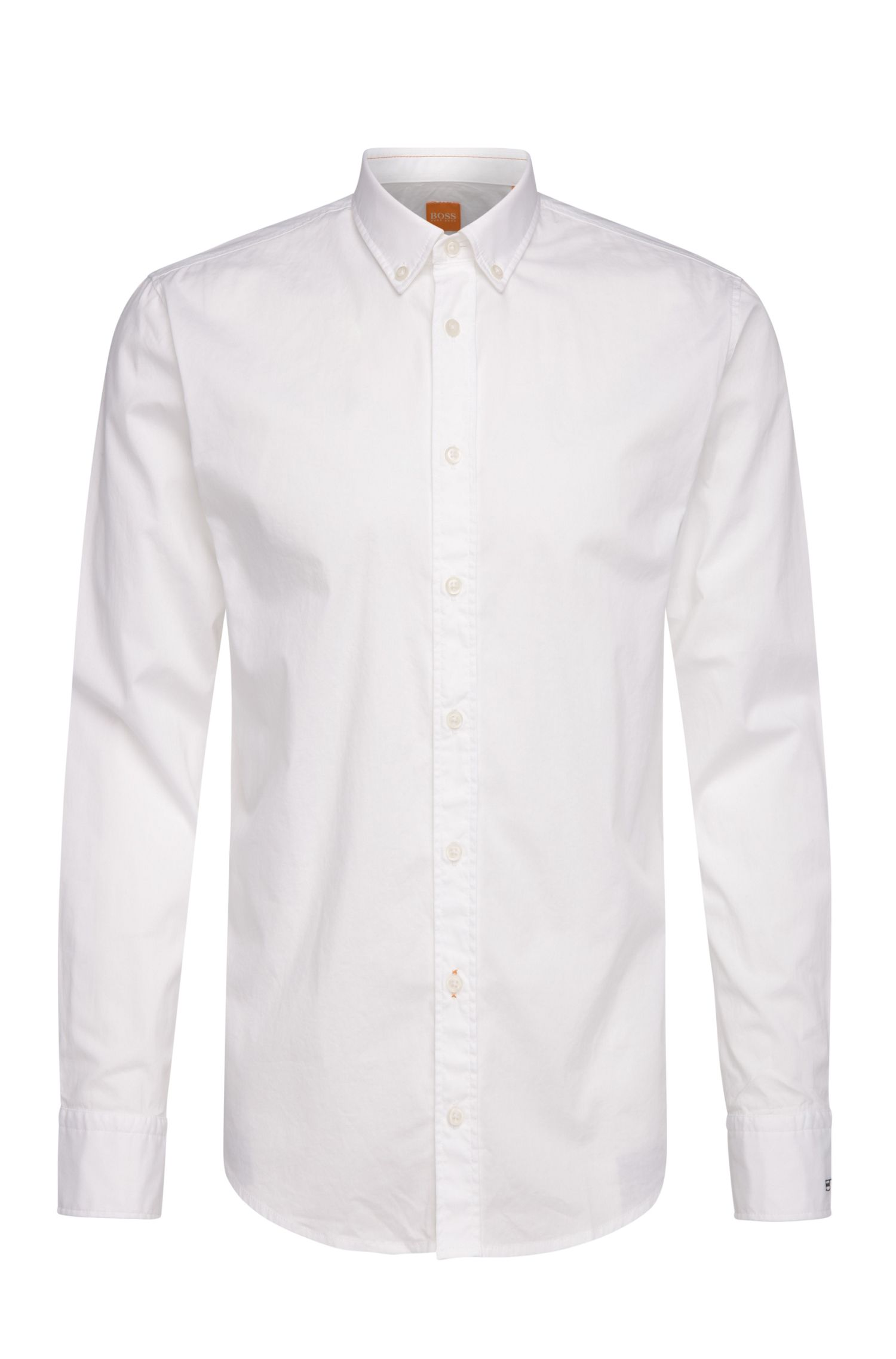 'EdipoE' | Slim Fit, Stretch Cotton Embroidered Button Down Shirt