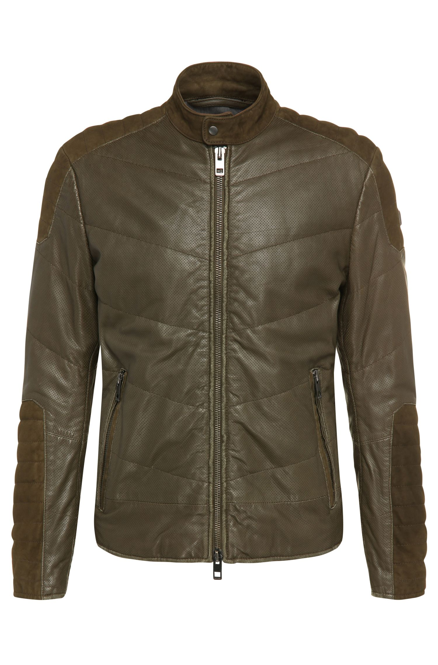 'Jendricks' | Suede Sheepskin Detail Biker Jacket