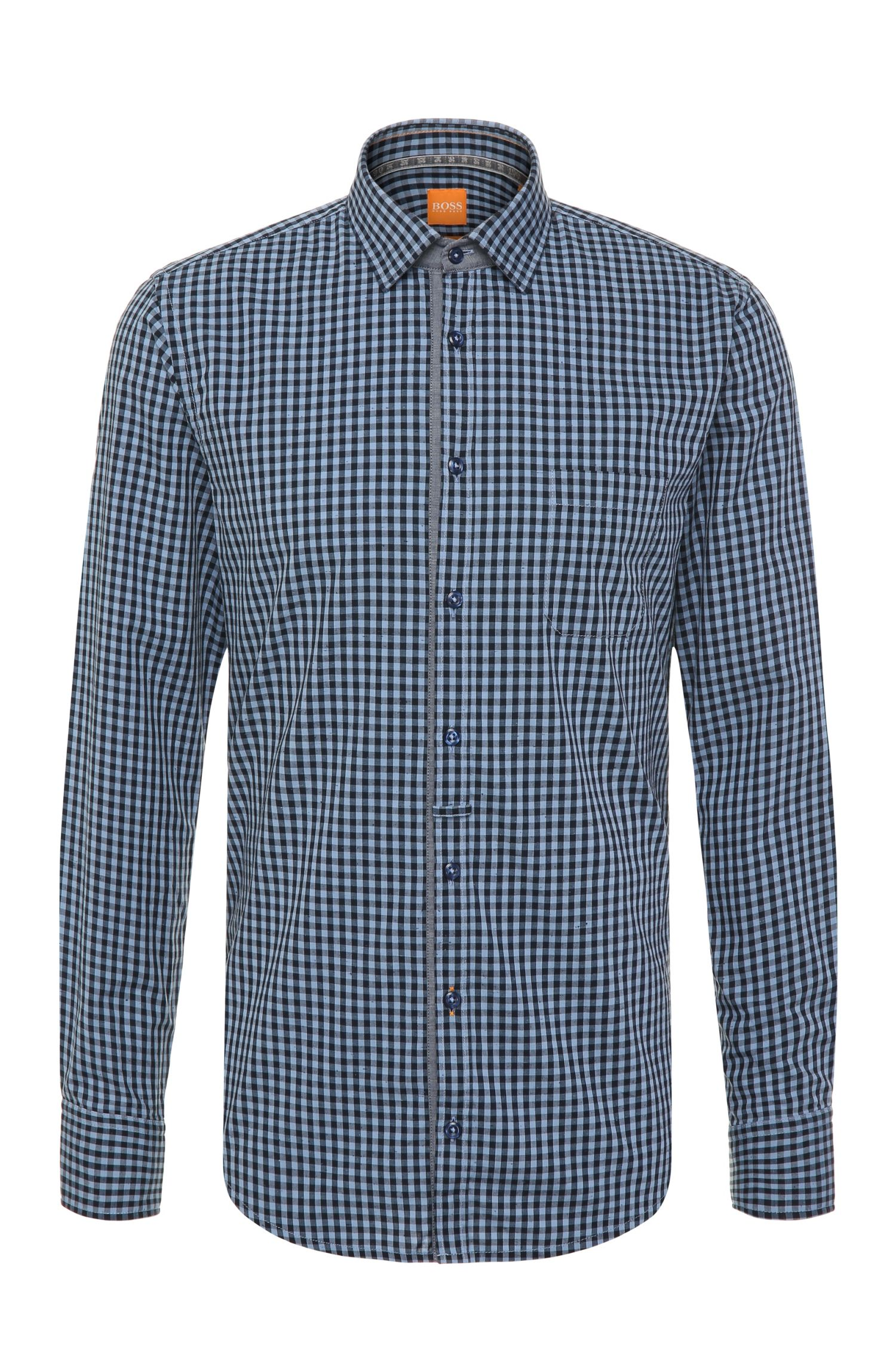 'EslimE'   Extra Slim Fit, Printed Cotton Button Down Shirt
