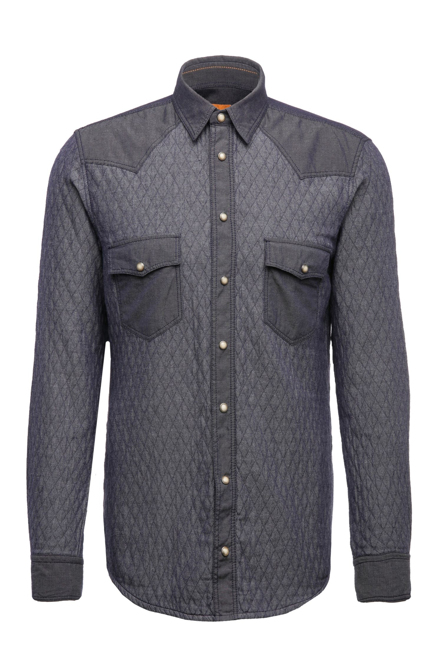 'EdawarmE' | Regular Fit, Cotton Quilted Button Down Shirt