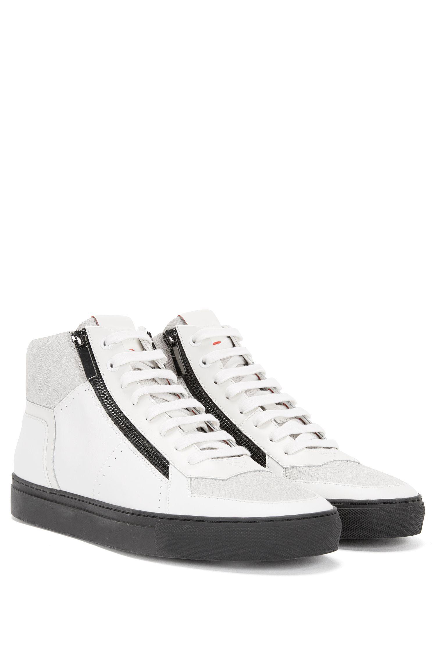 'Futurism Midc ltzp' | Calfskin Mixed Texture Zip High Top Sneakers