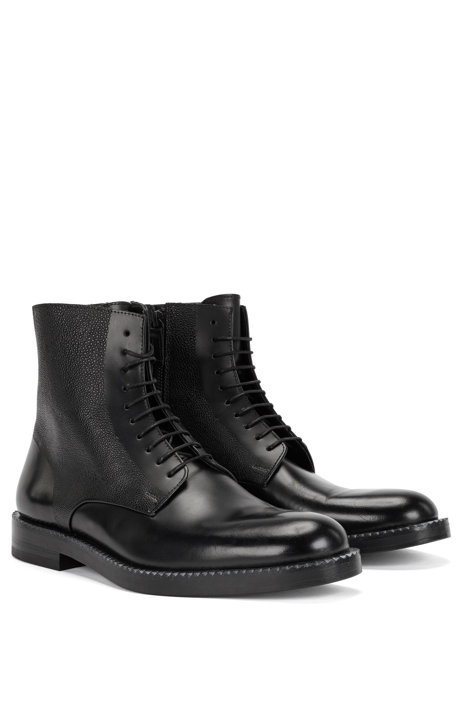 'Mono Boot Mx' | Calfskin Scotch Grain Work Boots