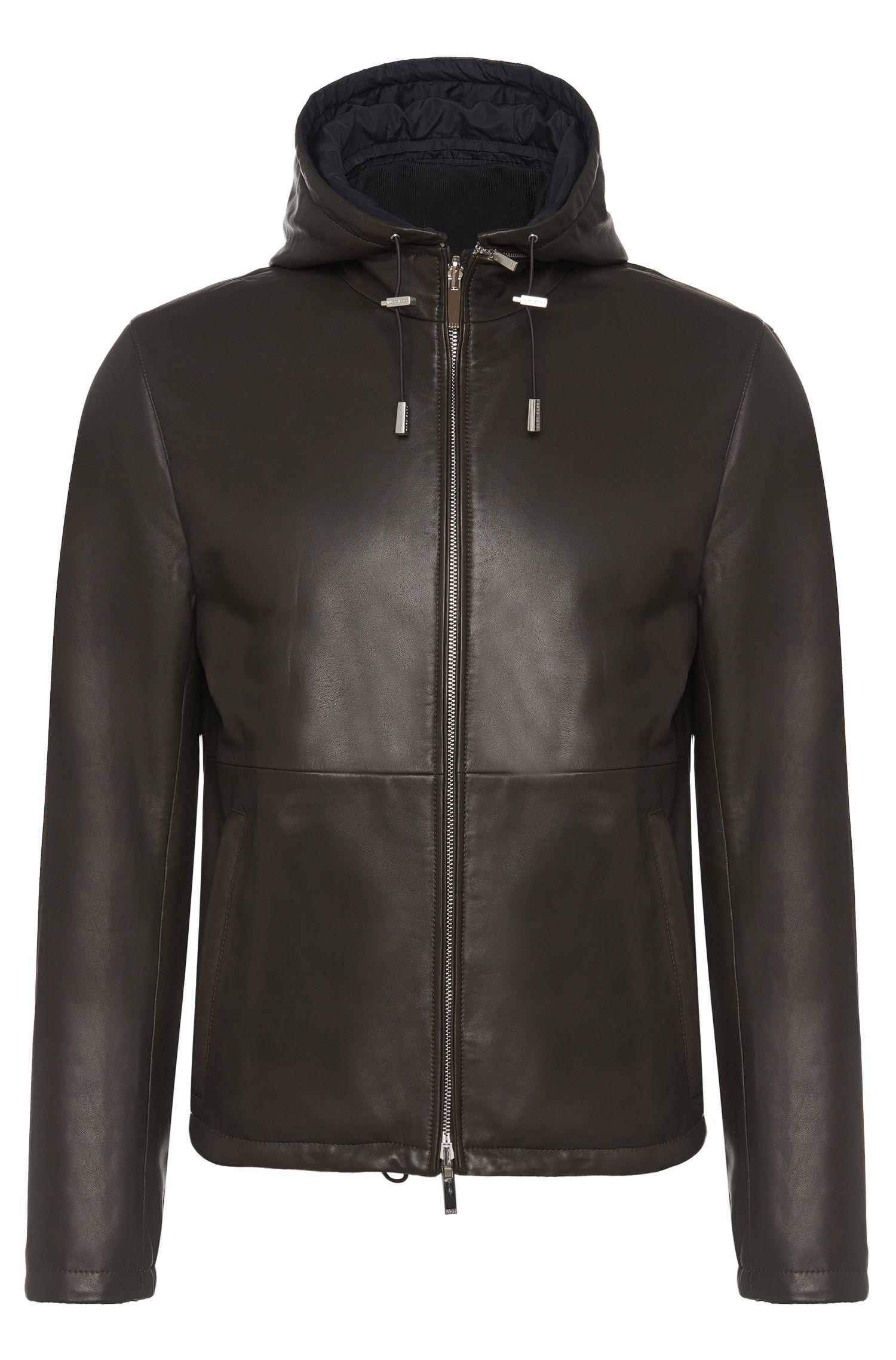 'Driffis' | Lambskin Reversible Jacket, Detachable Hood