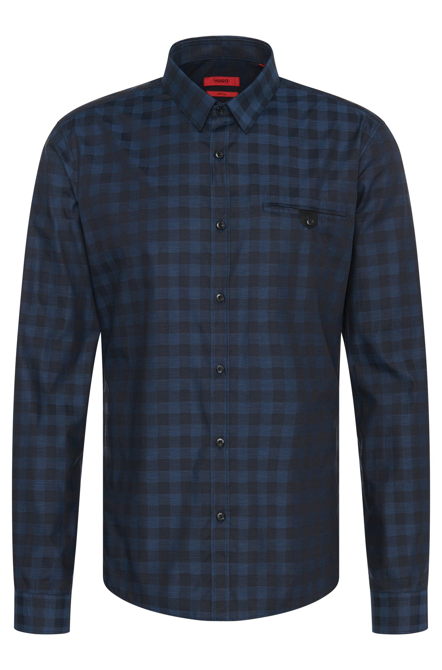 'Ewaldo' | Slim Fit, Cotton Melange Gingham Button Down Shirt