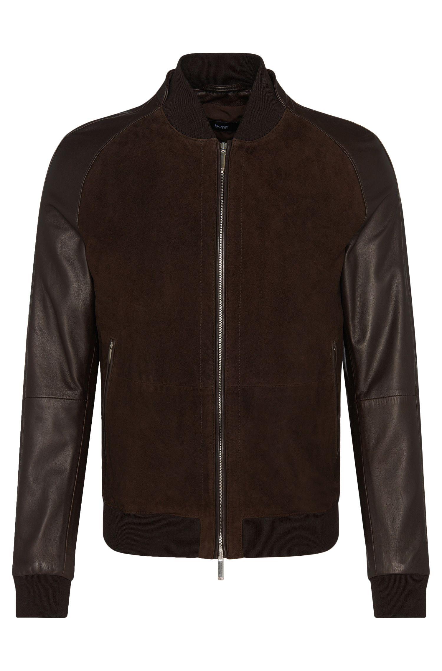'Mornas' | Sheepskin Plain, Suede Leather Bomber Jacket