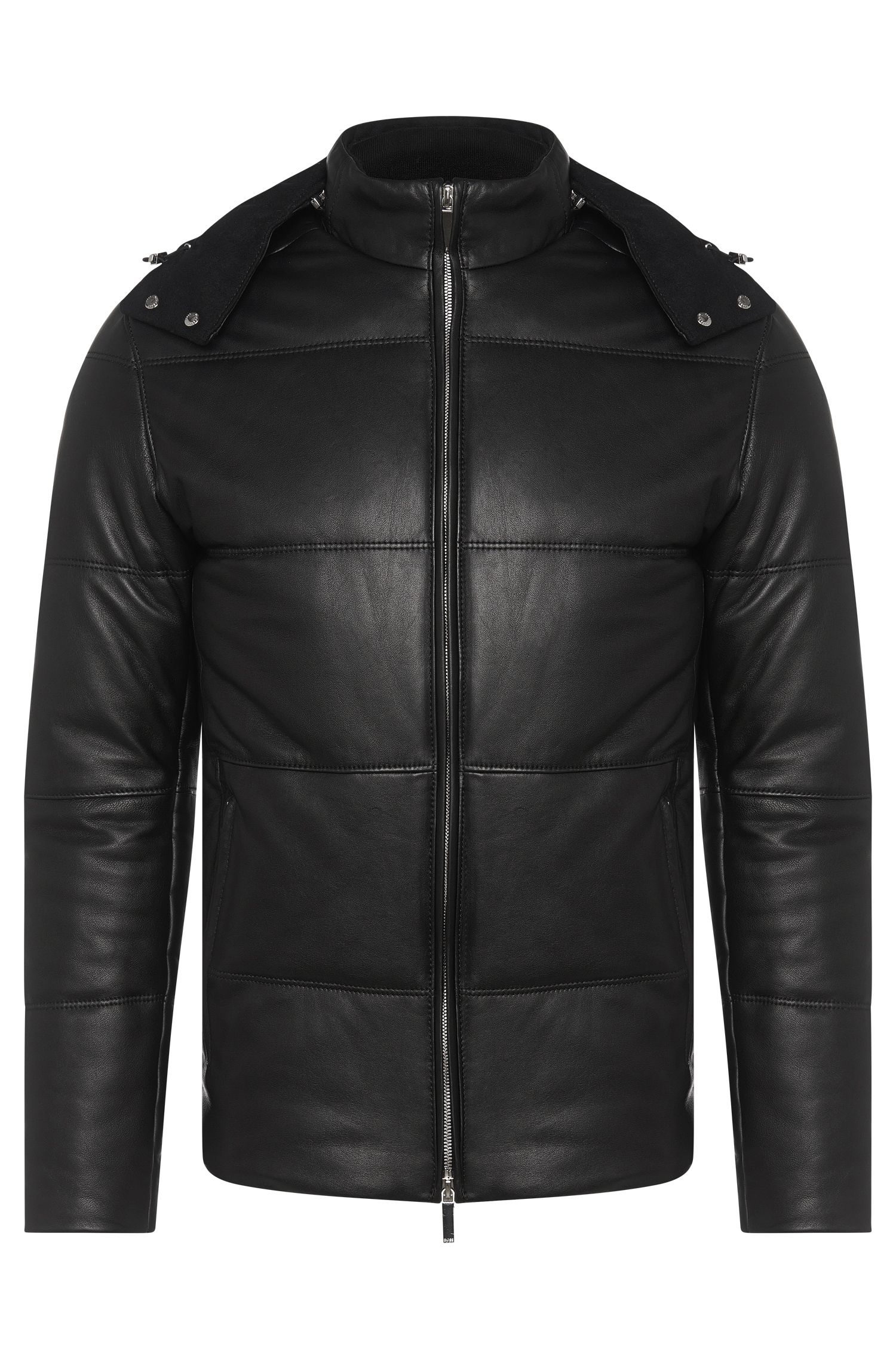 'Nortik' | Lambskin Quilted Puffer Coat, Removable Hood