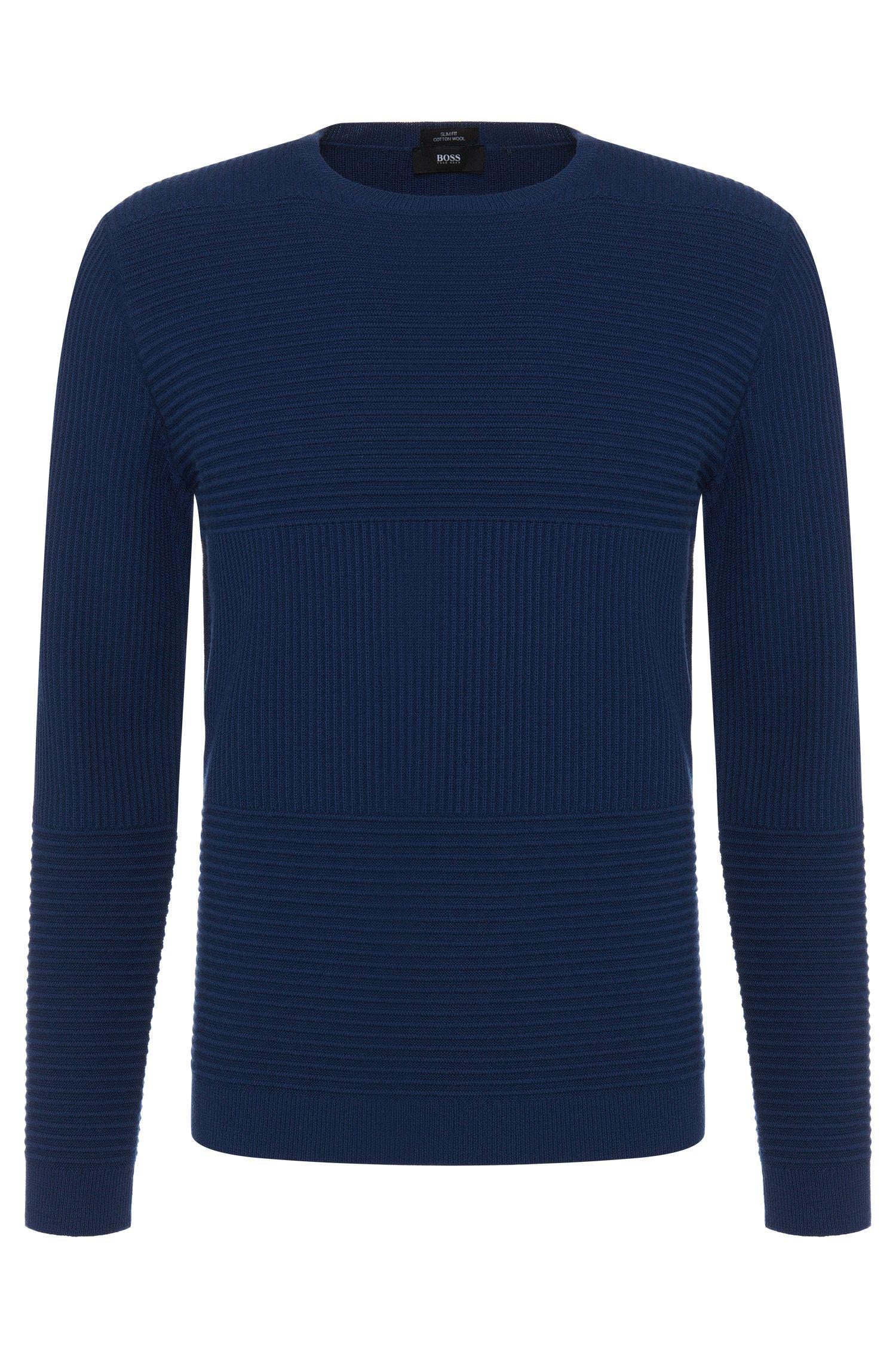 'Banty' | Virgin Wool Cotton Ribbed Panel Sweater