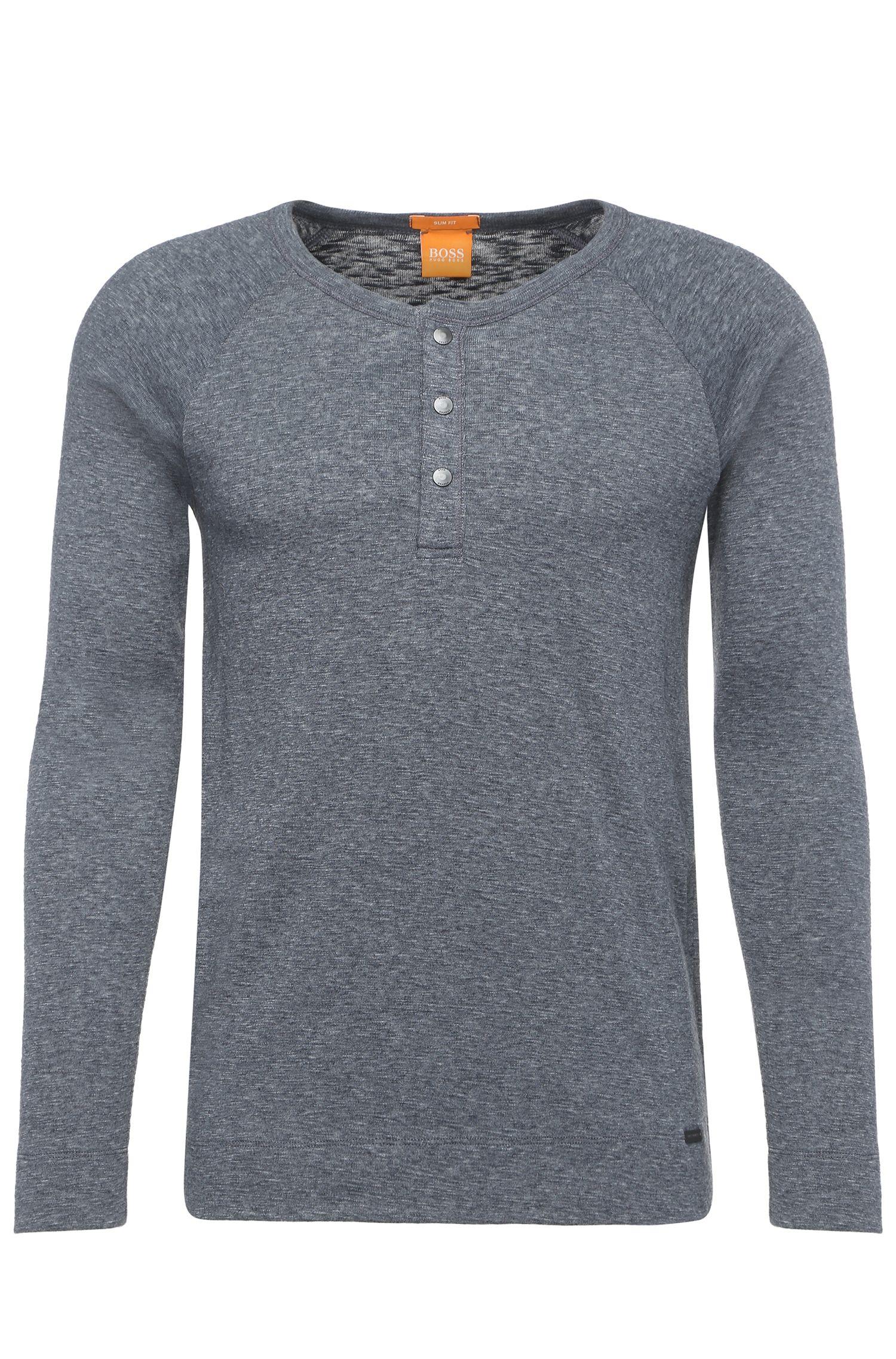 'Tambow'   Cotton Blend Long Sleeve Burnout T-Shirt