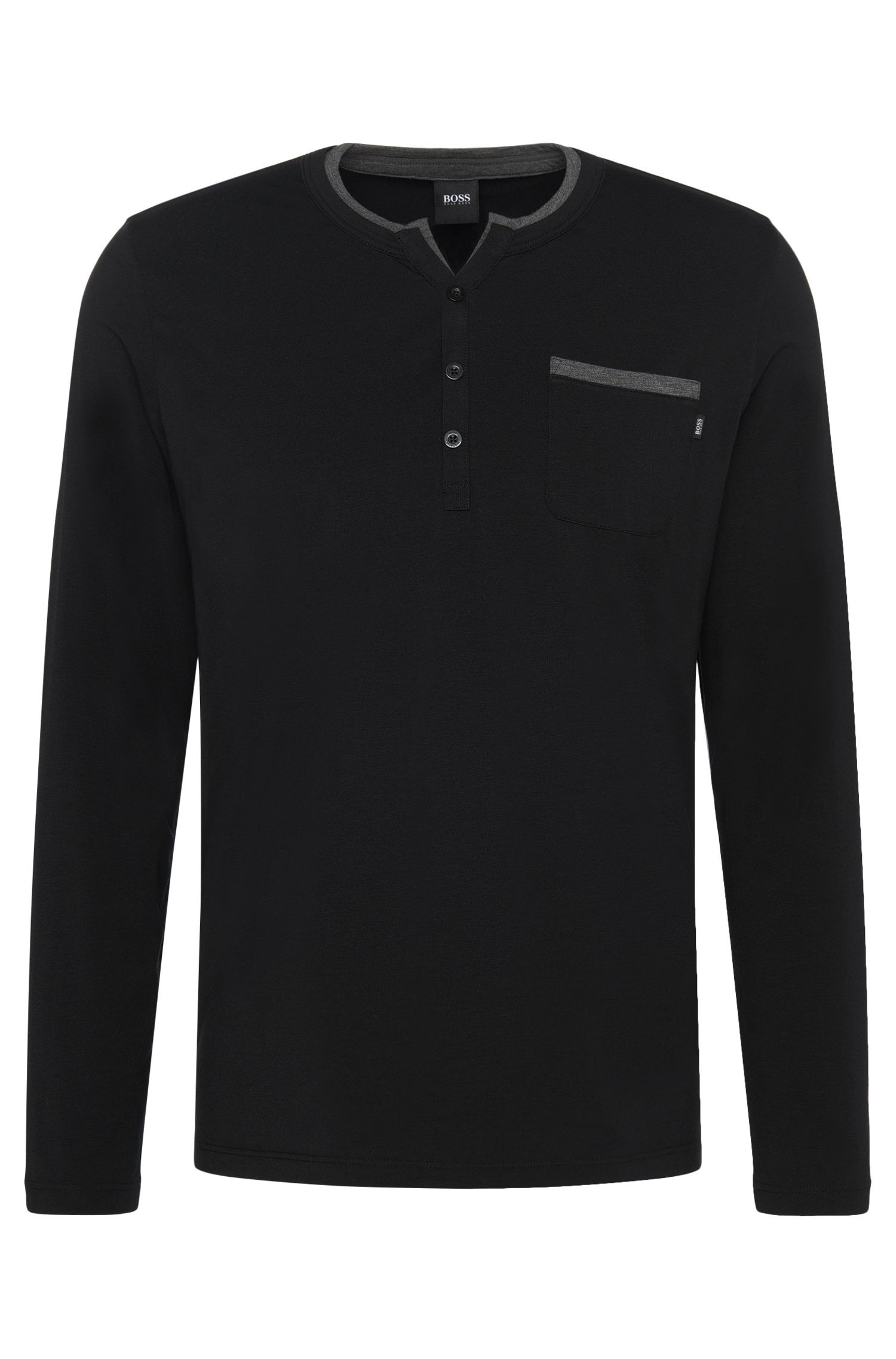 'LS Shirt BP' | Stretch Cotton Modal Henley T-Shirt