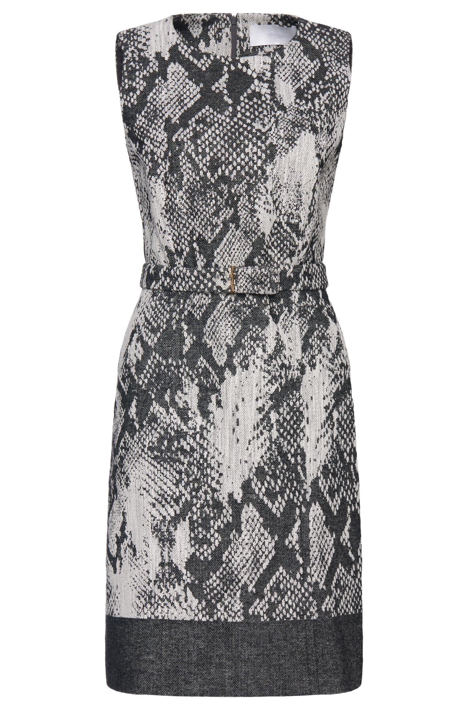'Daneki' | Virgin Wool Cotton Blend Belted A-Line Dress