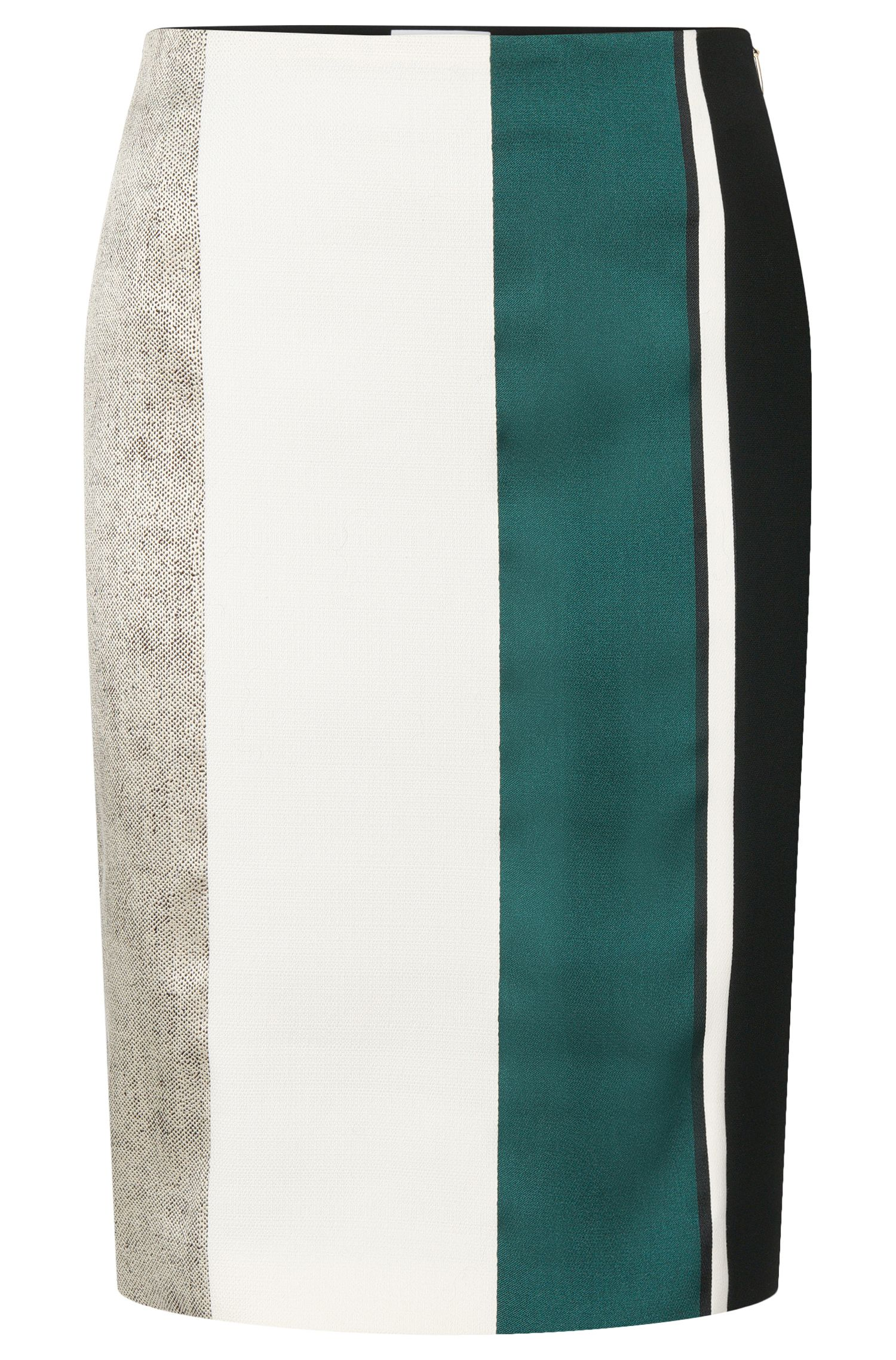 'Vastrina' | Cotton Blend Striped Straight Skirt