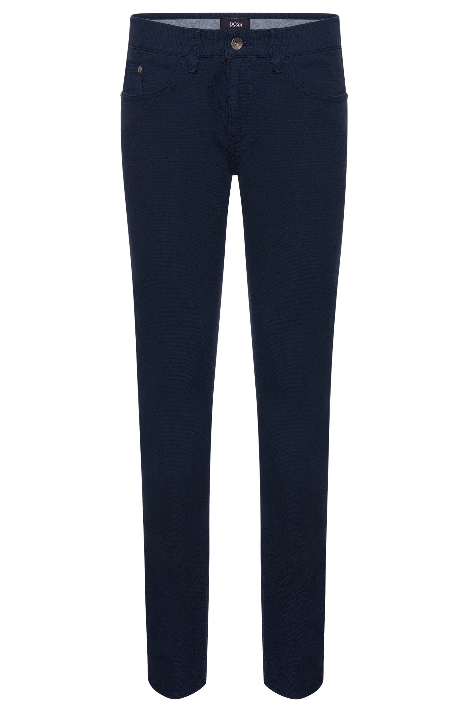 'Delaware' | Slim Fit, Stretch Cotton Patterned Trousers