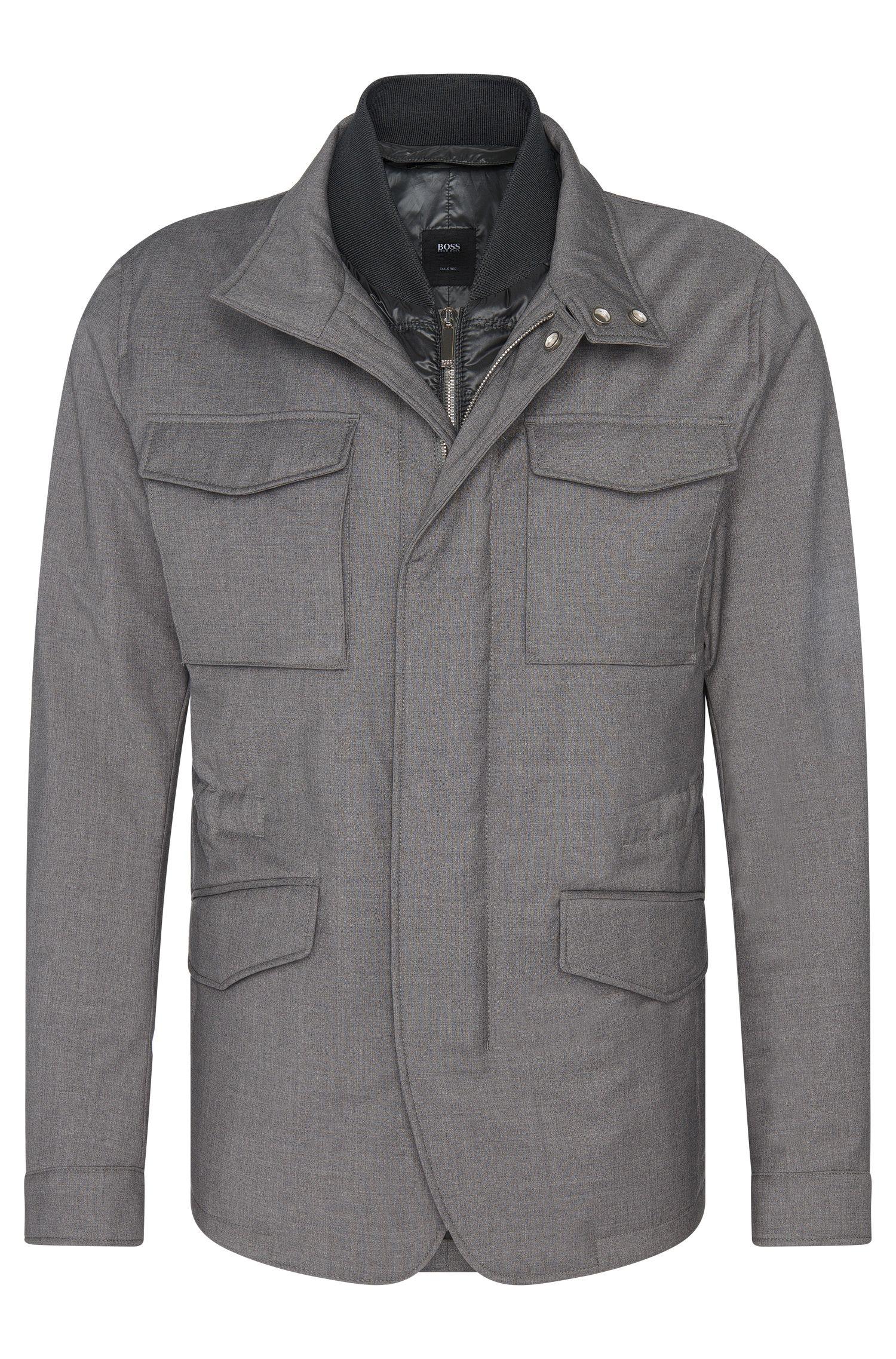 'T-Caimen' | Italian Virgin Wool Field Jacket, Detachable Bib