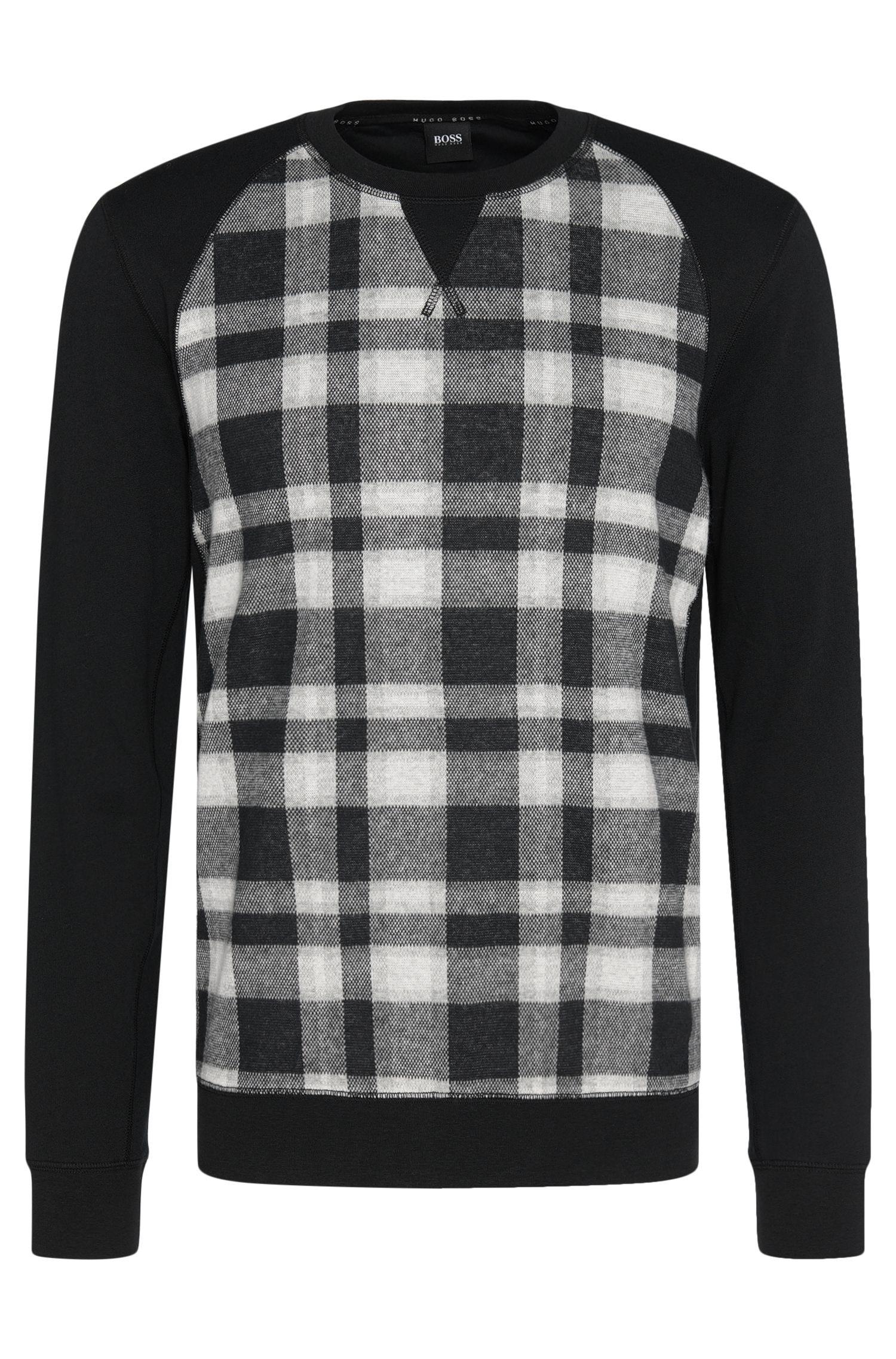 'Sweatshirt'   Cotton Plaid Sweatshirt