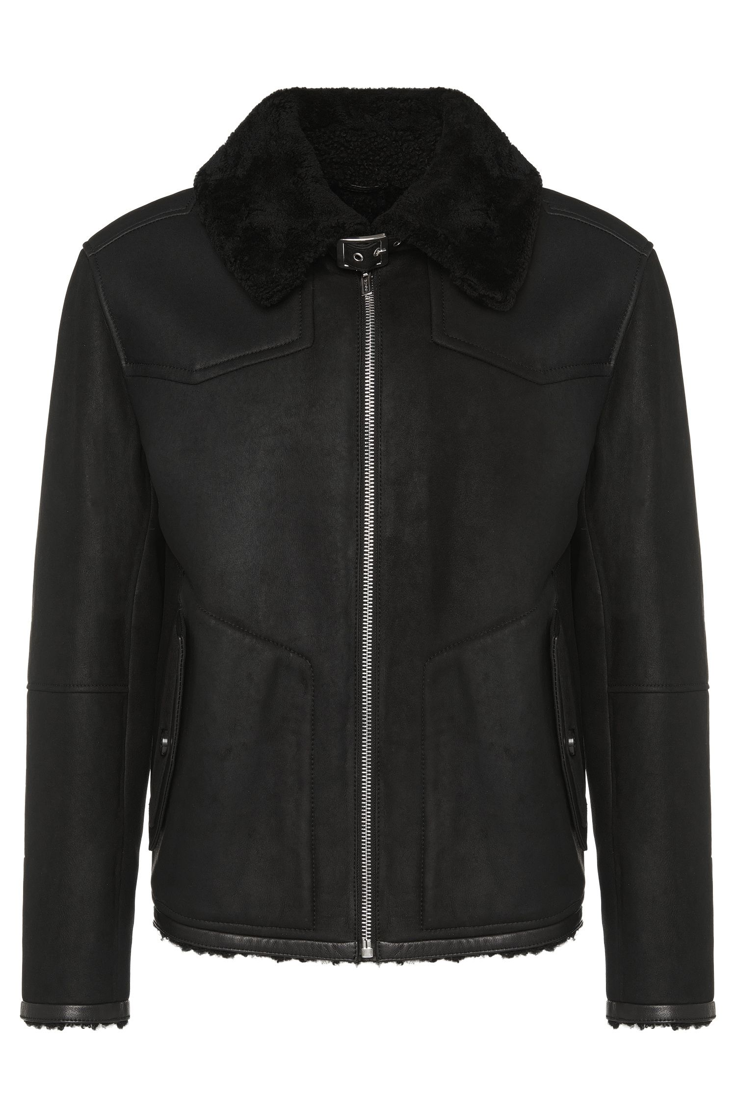 'Lean' | Lambskin Shearling Collar Jacket