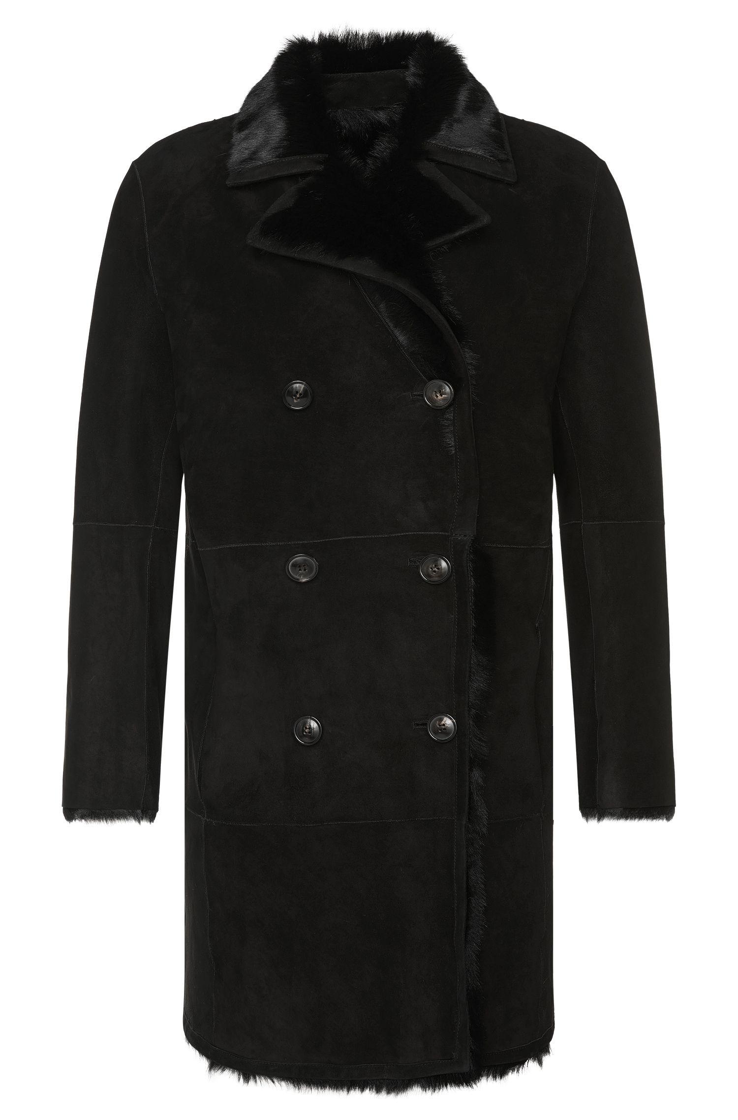 'Ludon' | Reversible Calfskin, Shearling Pea Coat