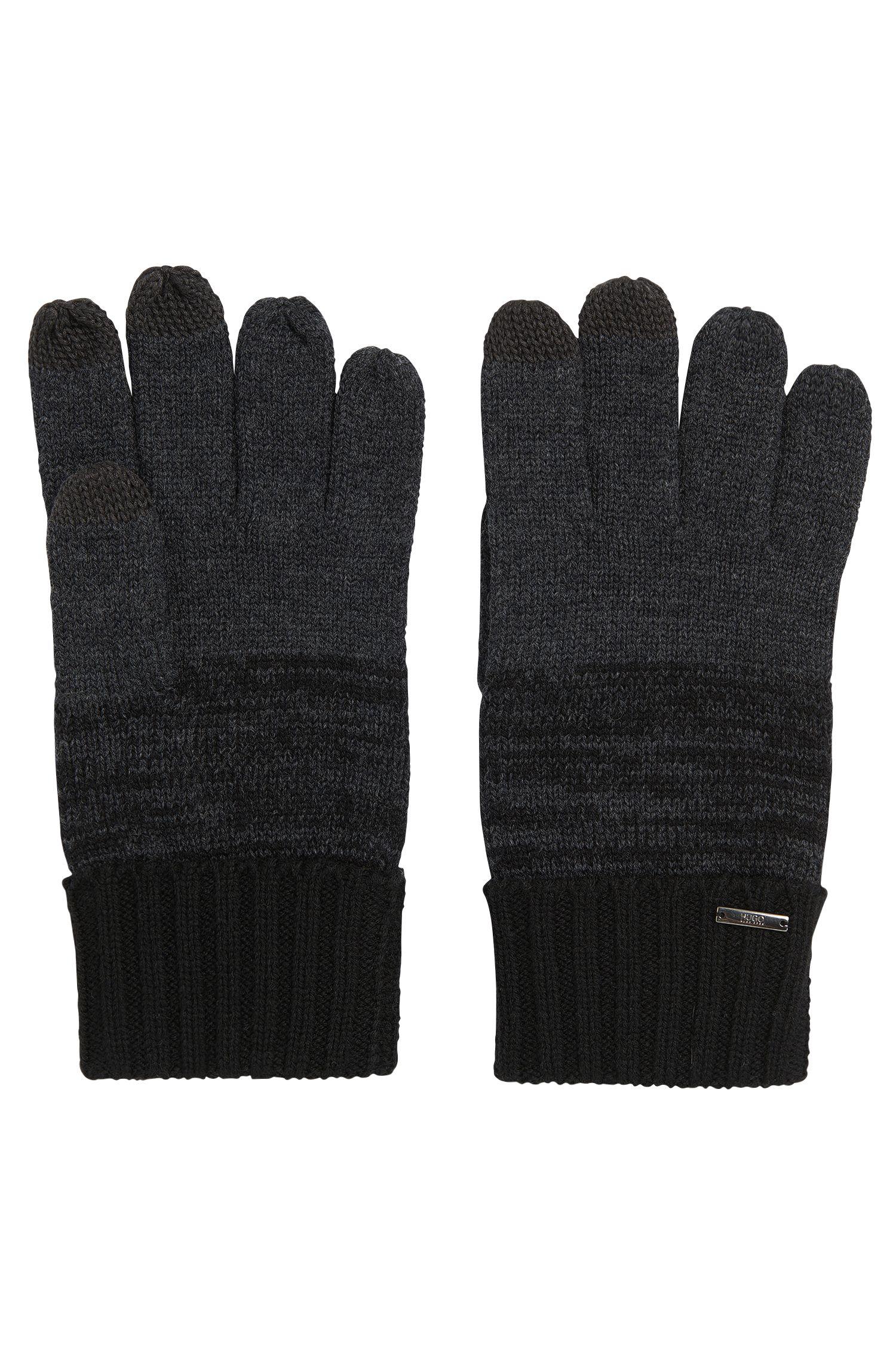 'Men W' | Virgin Wool Touchscreen Knit Gloves