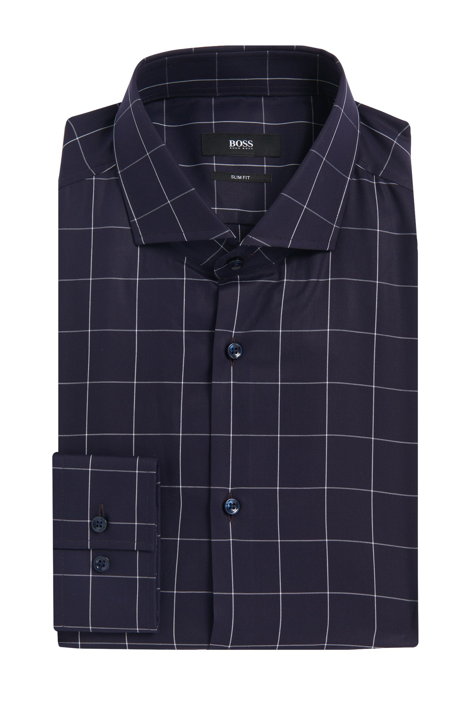 'Jason' | Slim Fit, Italian Cotton Window Pane Dress Shirt