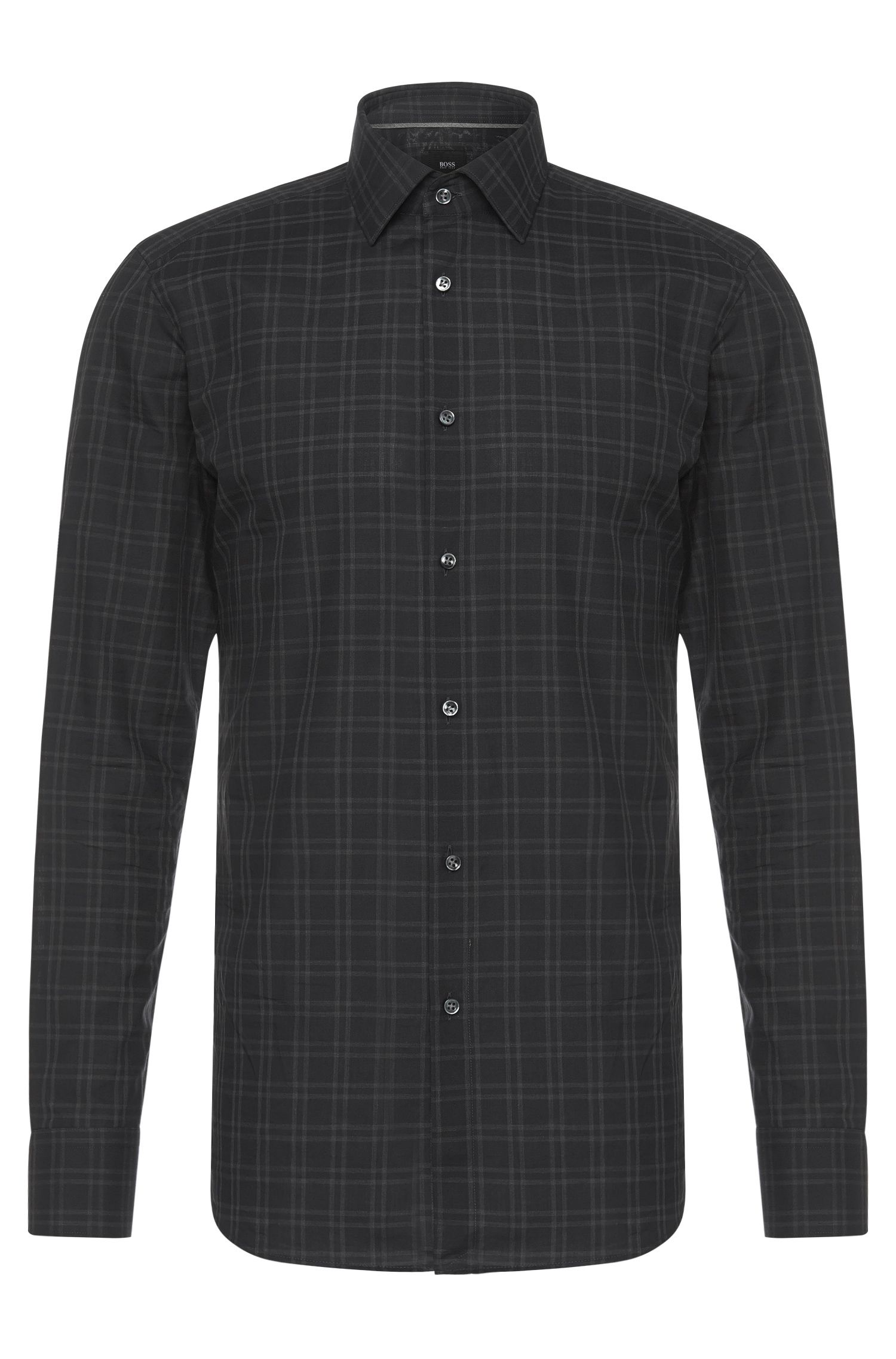 'T-Scott' | Slim Fit, Italian Cotton Checked Dress Shirt