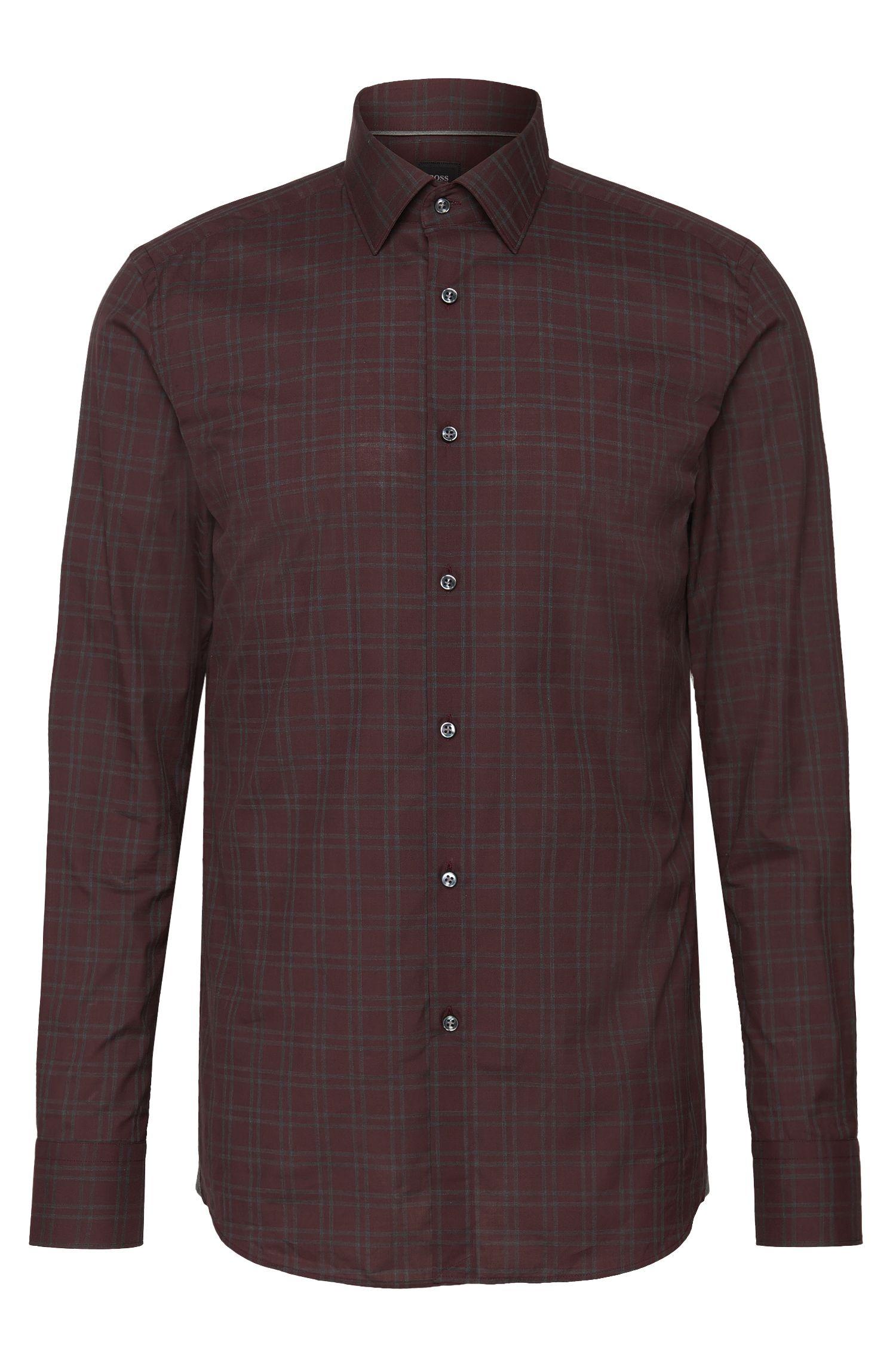 'T-Scott' | Slim Fit, Italian Cotton Checked Dress Shirt