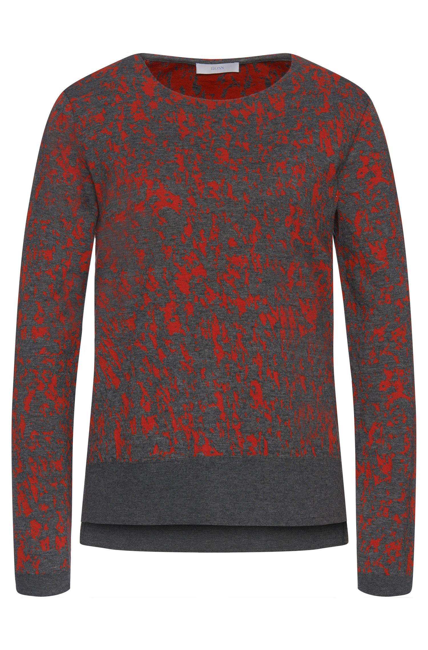 'Emka' | Cotton Blend Abstract Intarsia Sweater