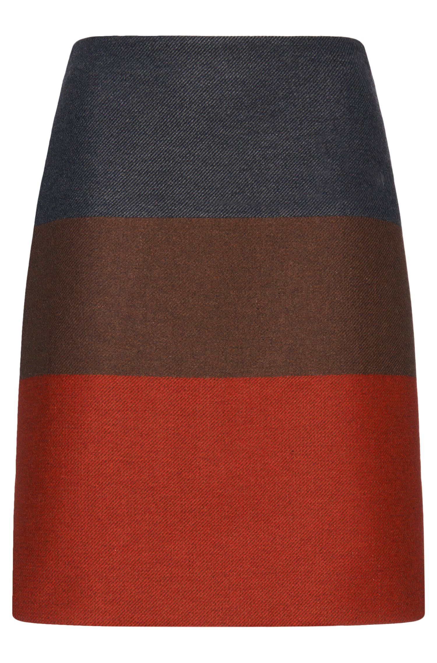 'Malivi' | Wool Cashmere Blend Twill Colorblocked Straight Skirt