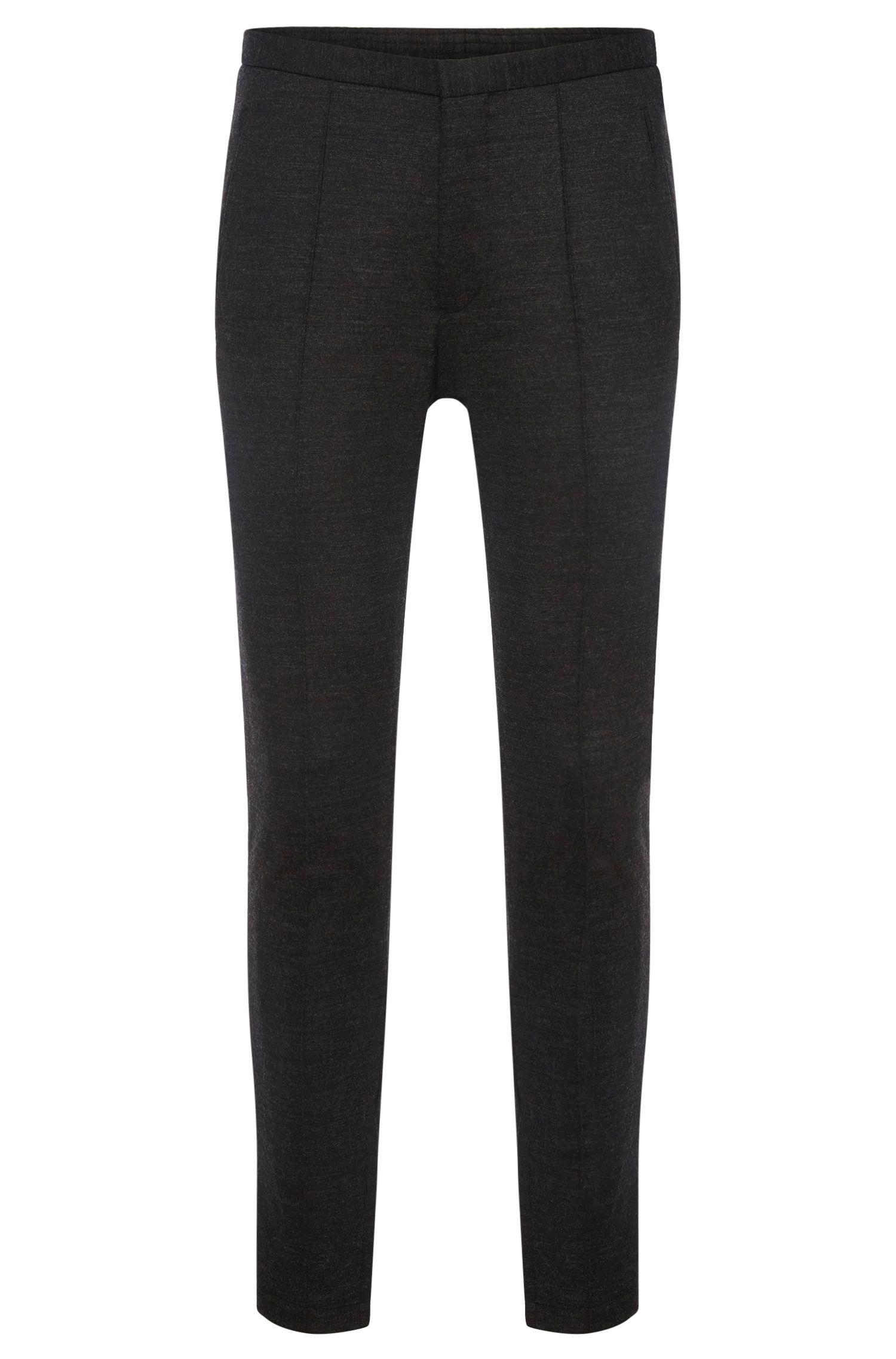 'Brio' | Slim Fit, Stretch Virgin Wool Ankle Zip Trousers