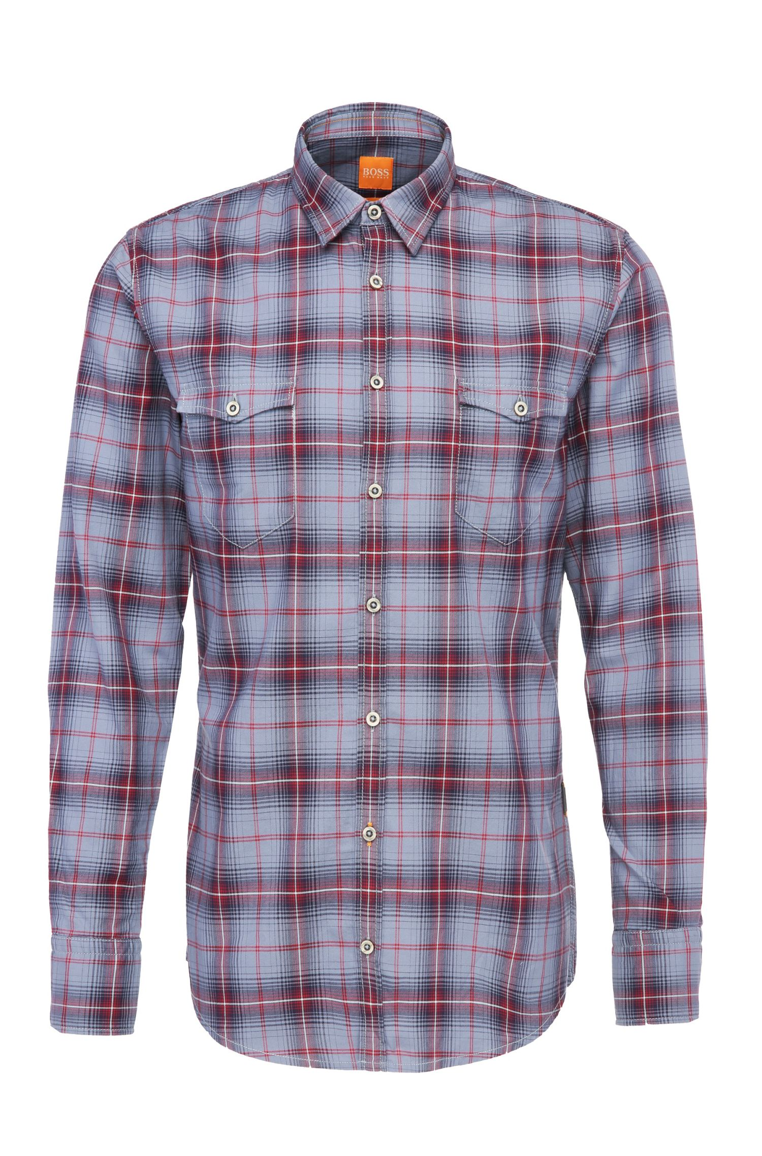 'EdoslimE' | Slim Fit, Cotton Plaid Button Down Shirt