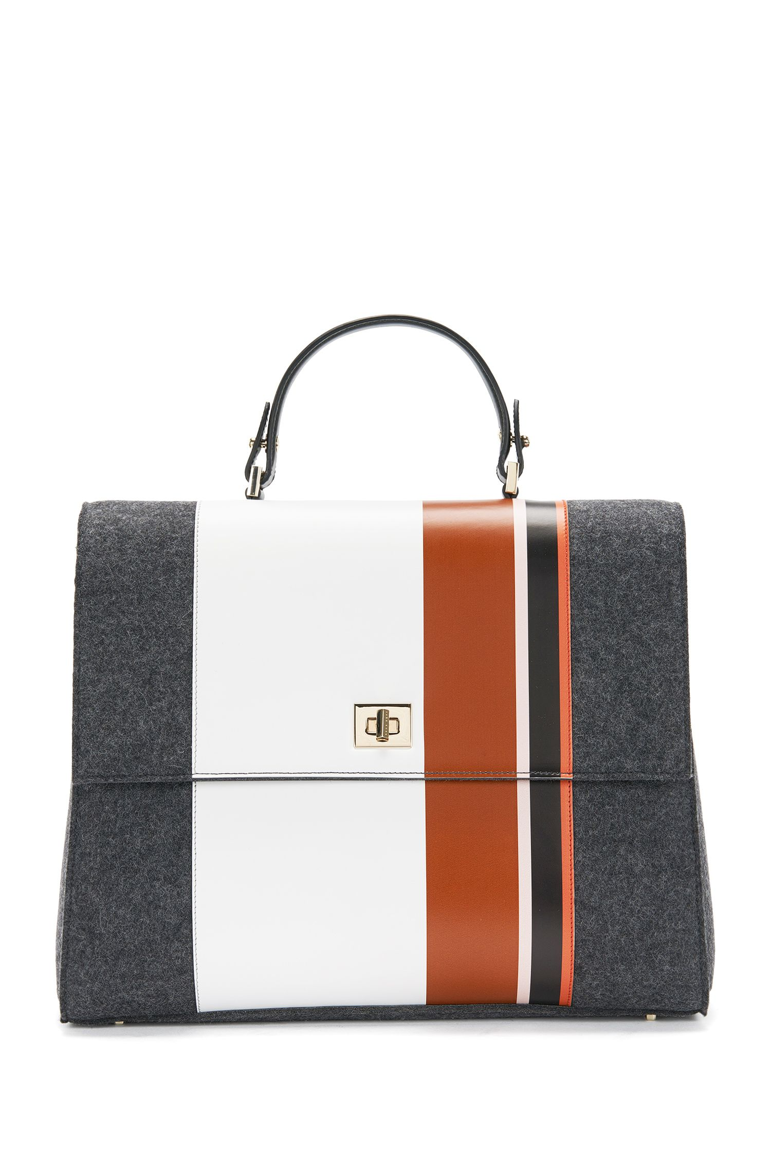 'BOSS Bespoke TH M-PF' | Leather Wool Handbag, Detachable Strap