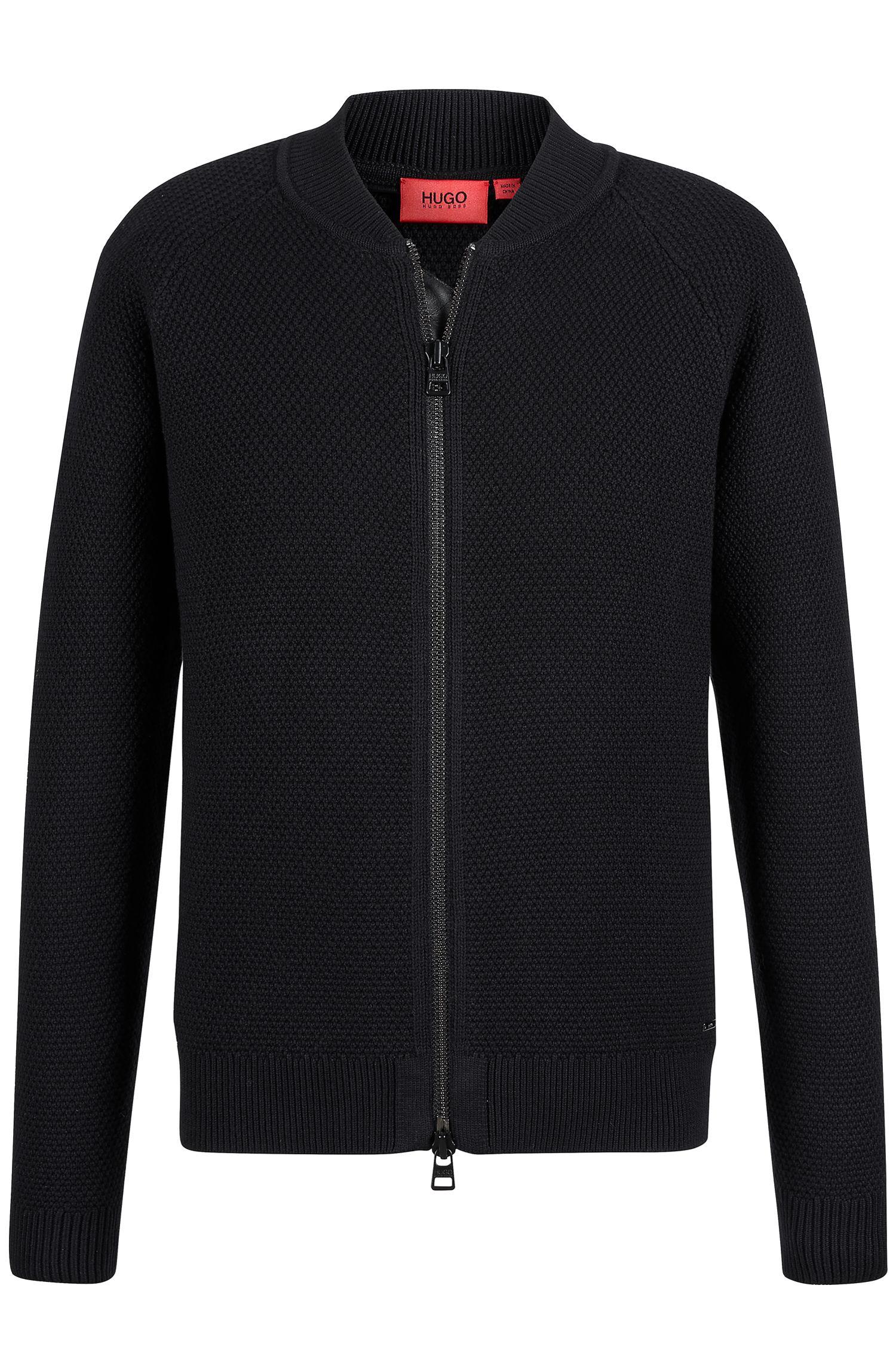 'Saio' | Virgin Wool Cotton Textured Zip Cardigan