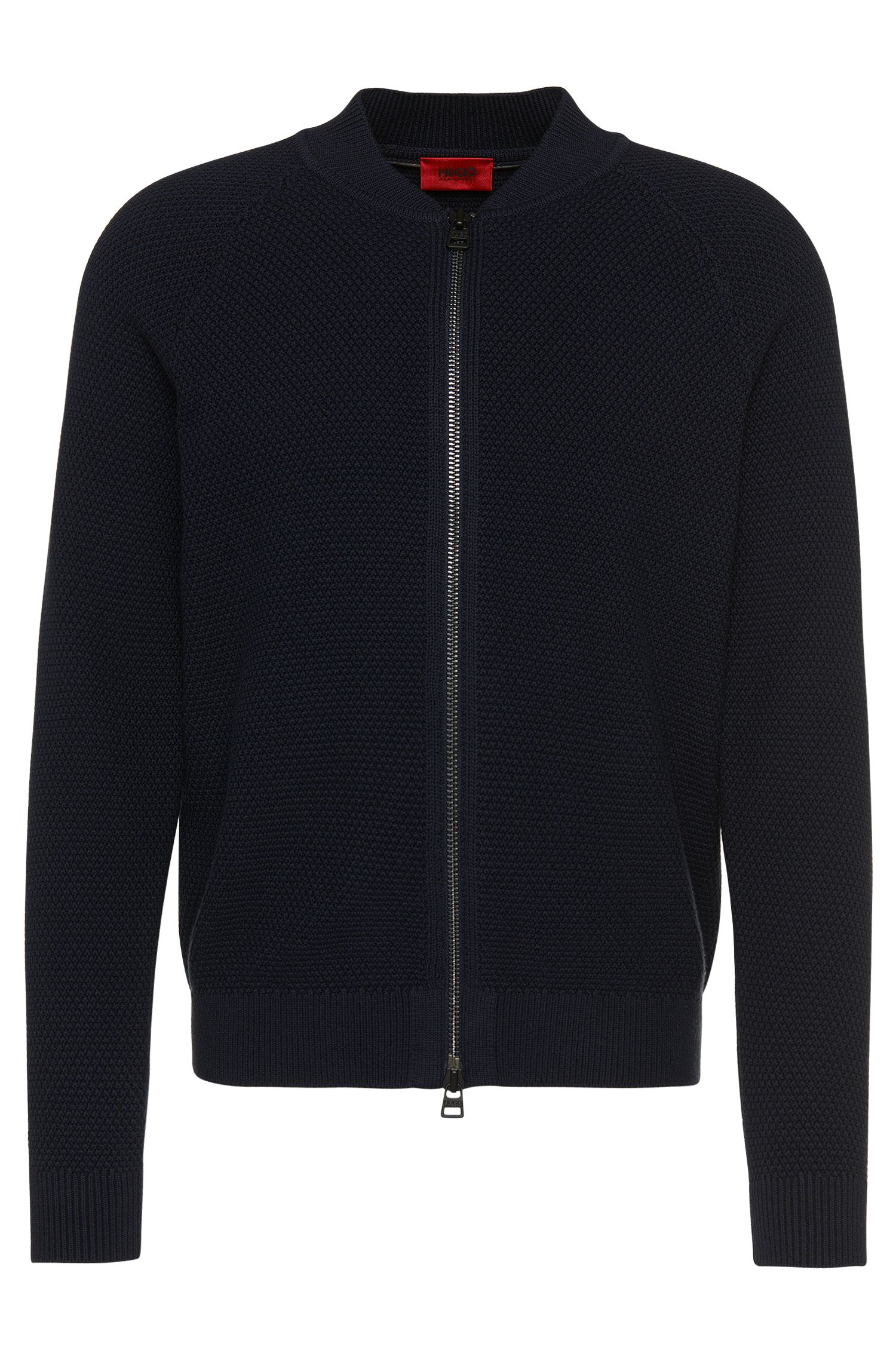 'Saio'   Virgin Wool Cotton Textured Zip Cardigan
