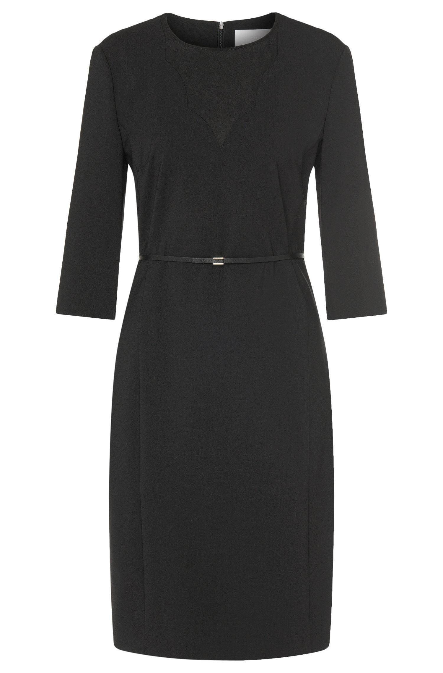 'Diabina' | Stretch Virgin Wool Belted Sheath Dress