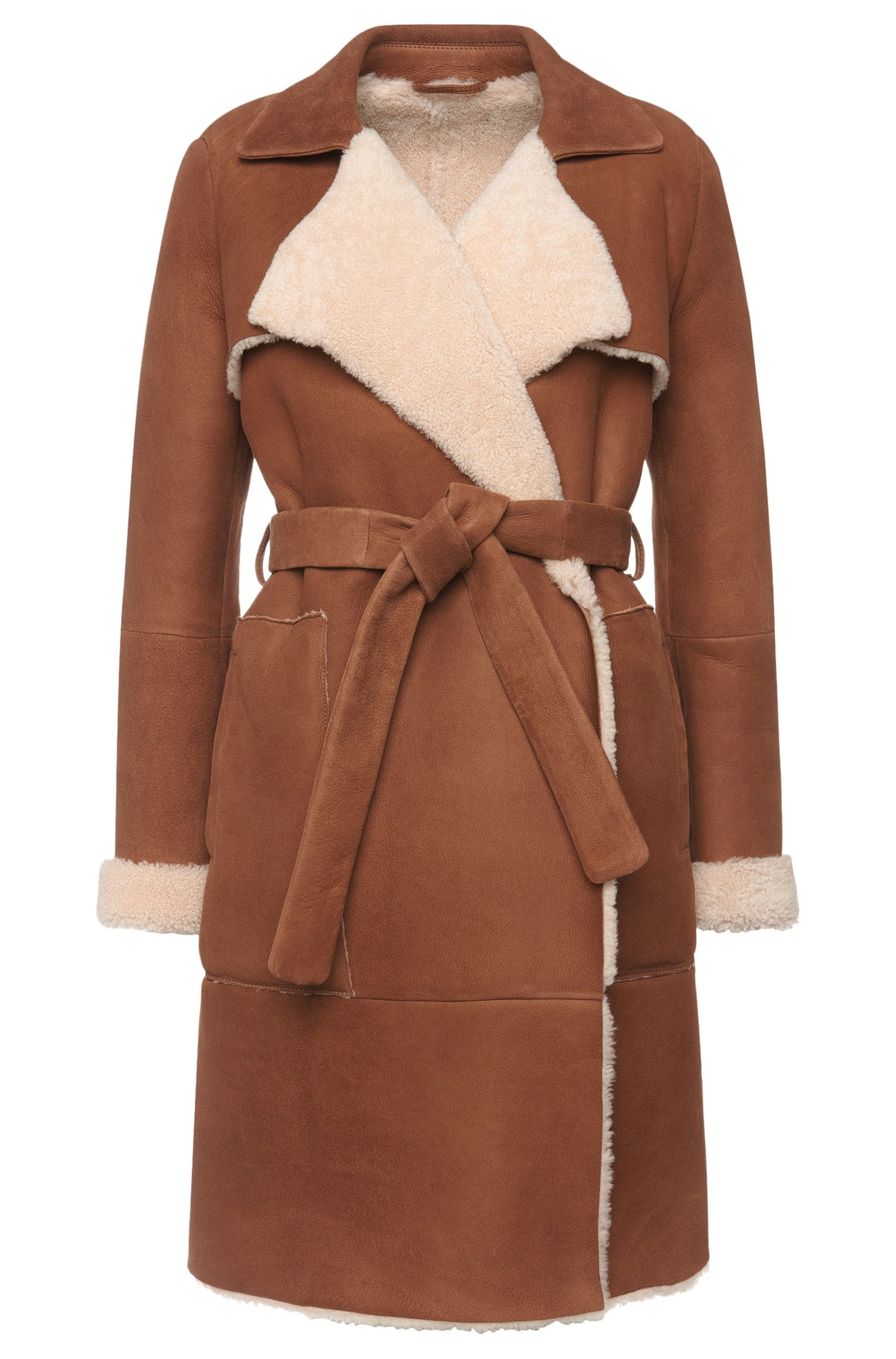 'Lanona' | Lambskin Suede Shearling Belted Coat
