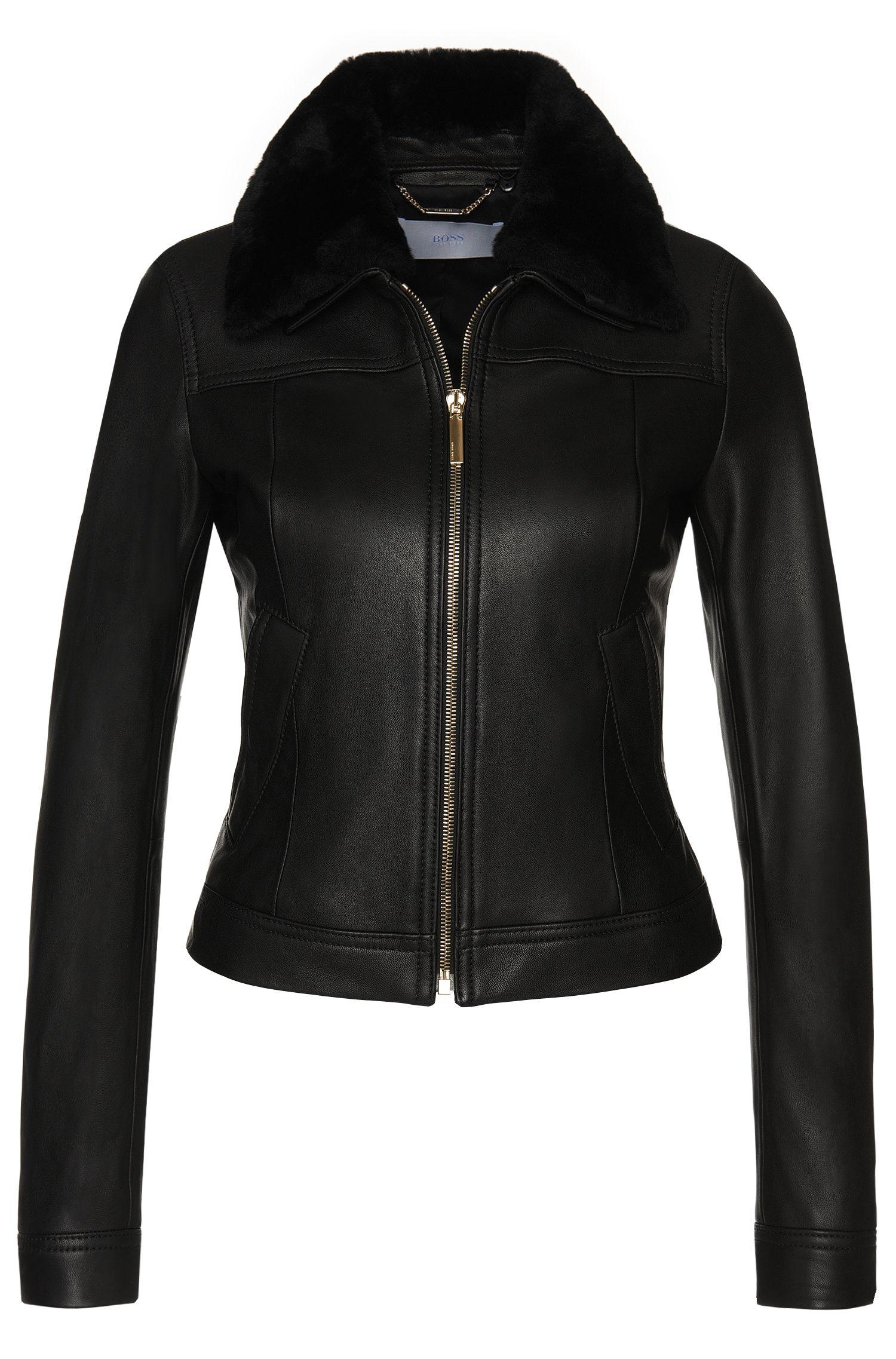 'Saysel' | Lambskin Fur Collar Jacket
