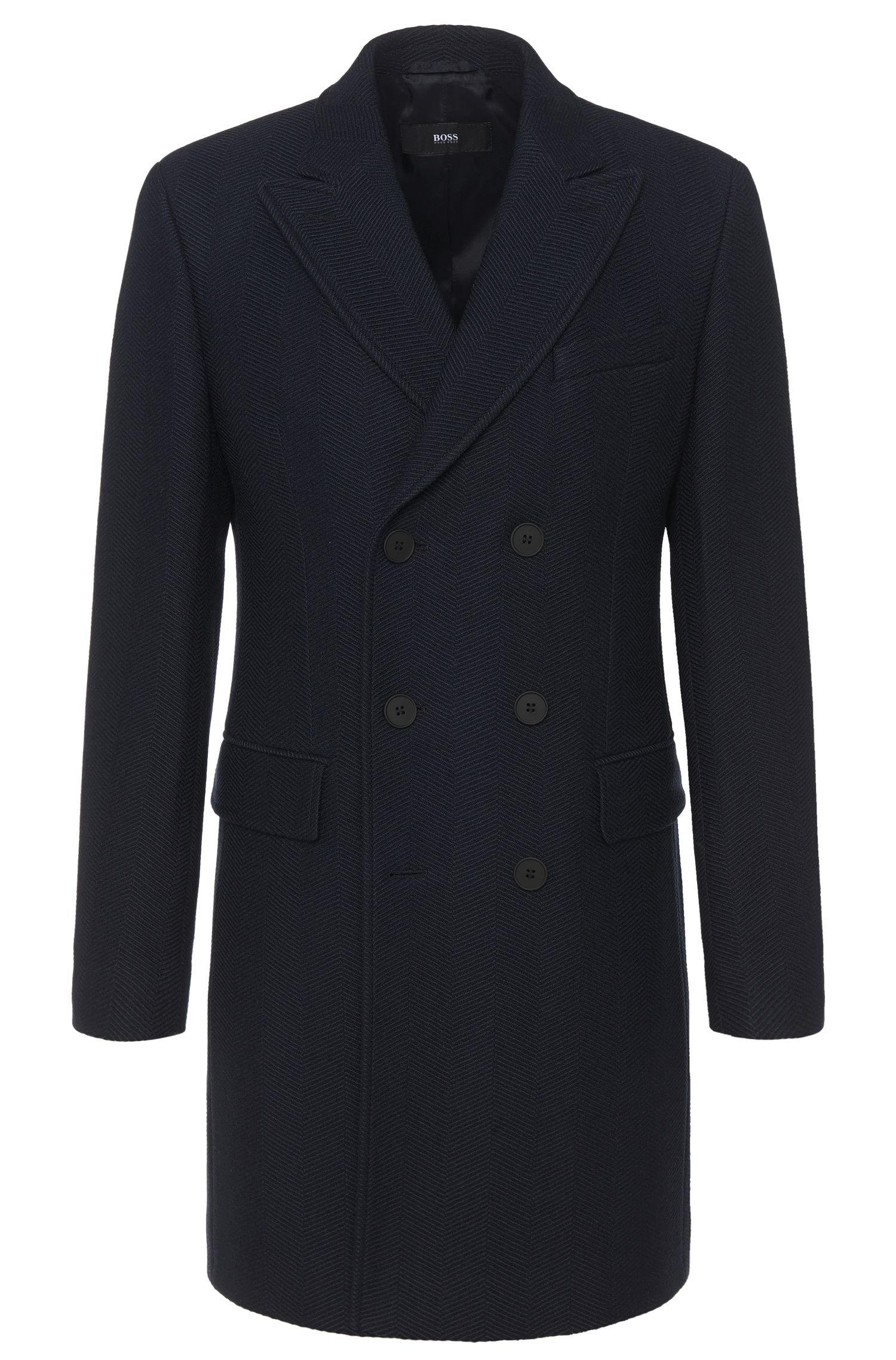 'Darvin' | Virgin Wool Herringbone Weave Pea Coat