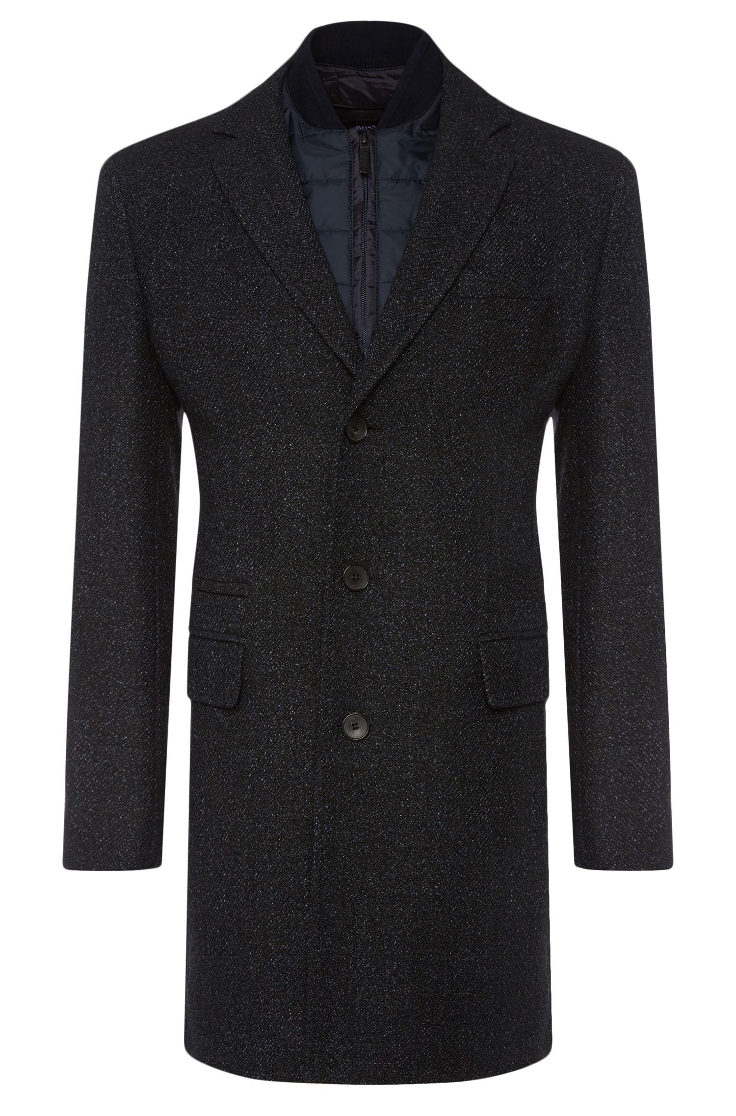 'Nadim' | Virgin Wool Blend Donegal Car Coat, Removable Bib