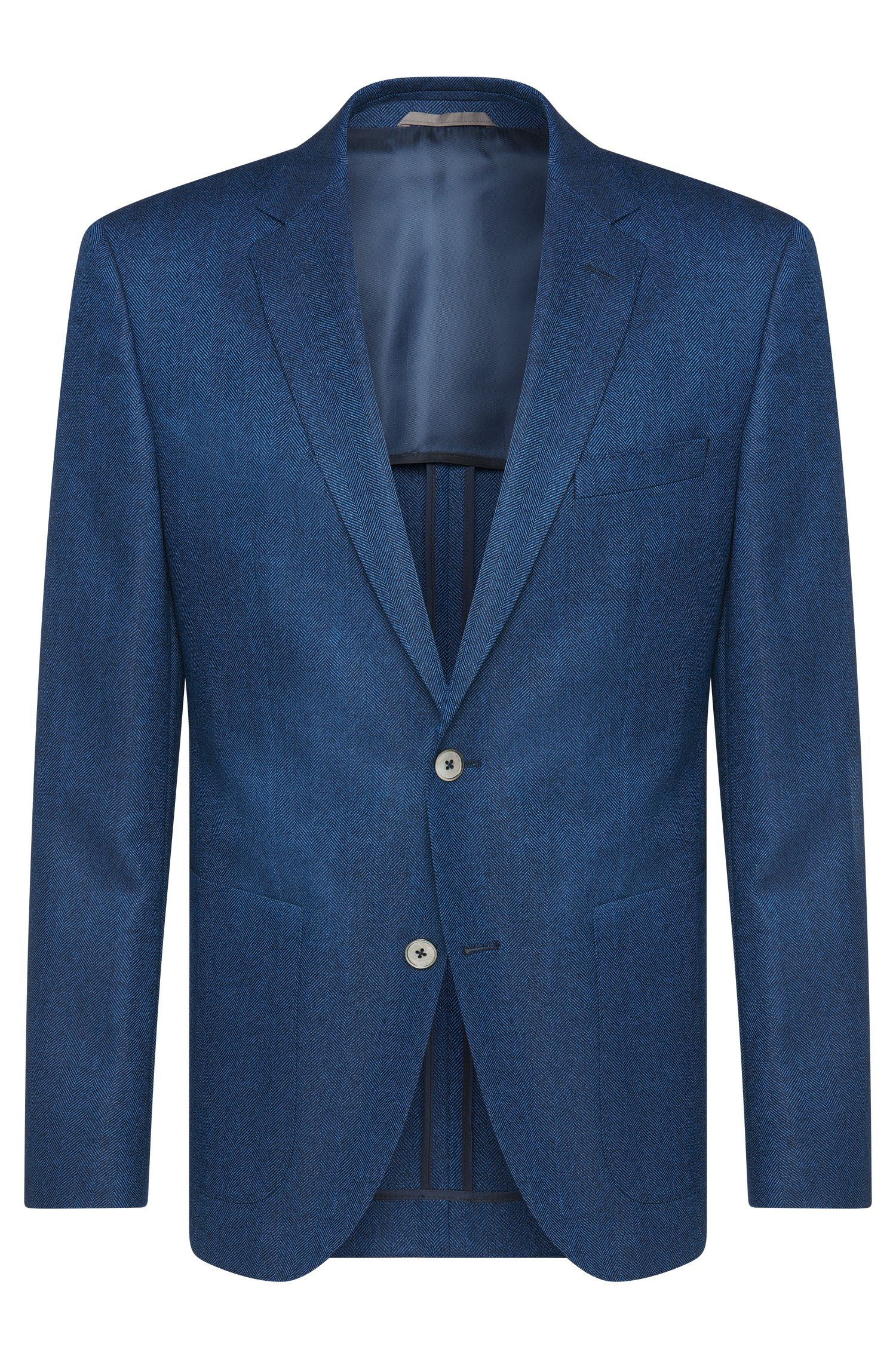 'Janson' | Regular Fit, Super 100 Virgin Wool Herringbone Sport Coat